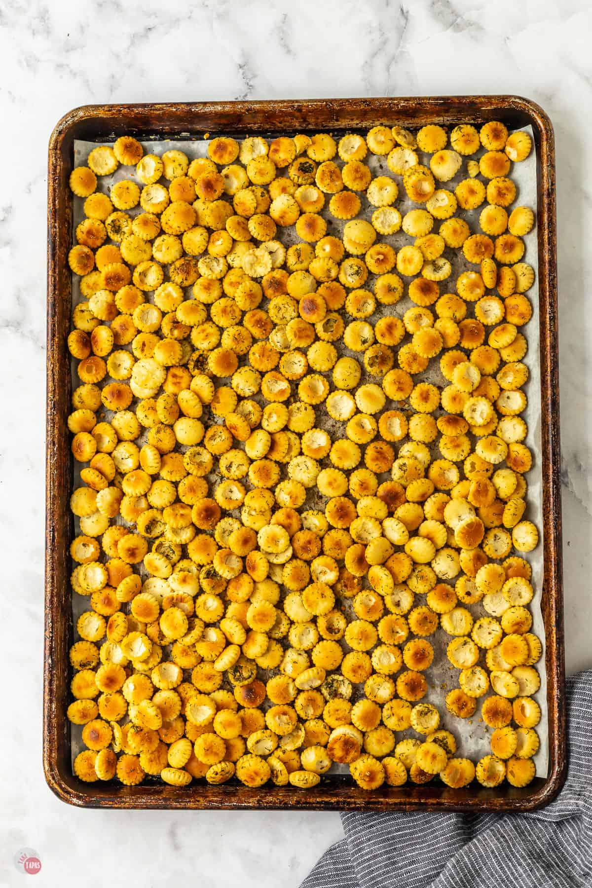 baked crackers on a baking sheet