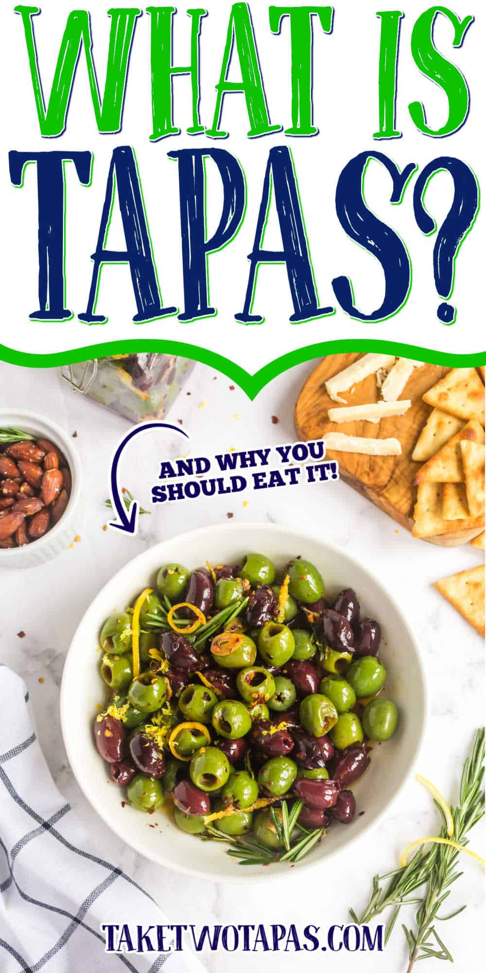 """bowl of olives with text """"what is tapas?"""""""