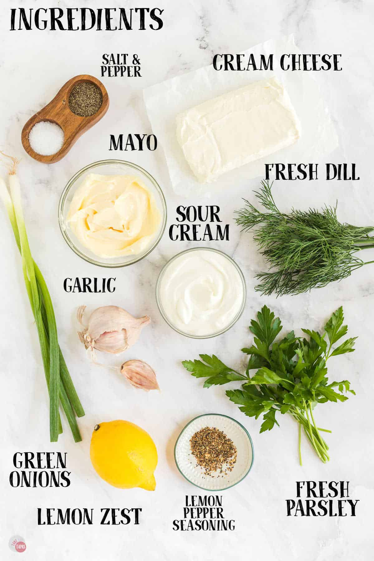 labeled picture of dip ingredients