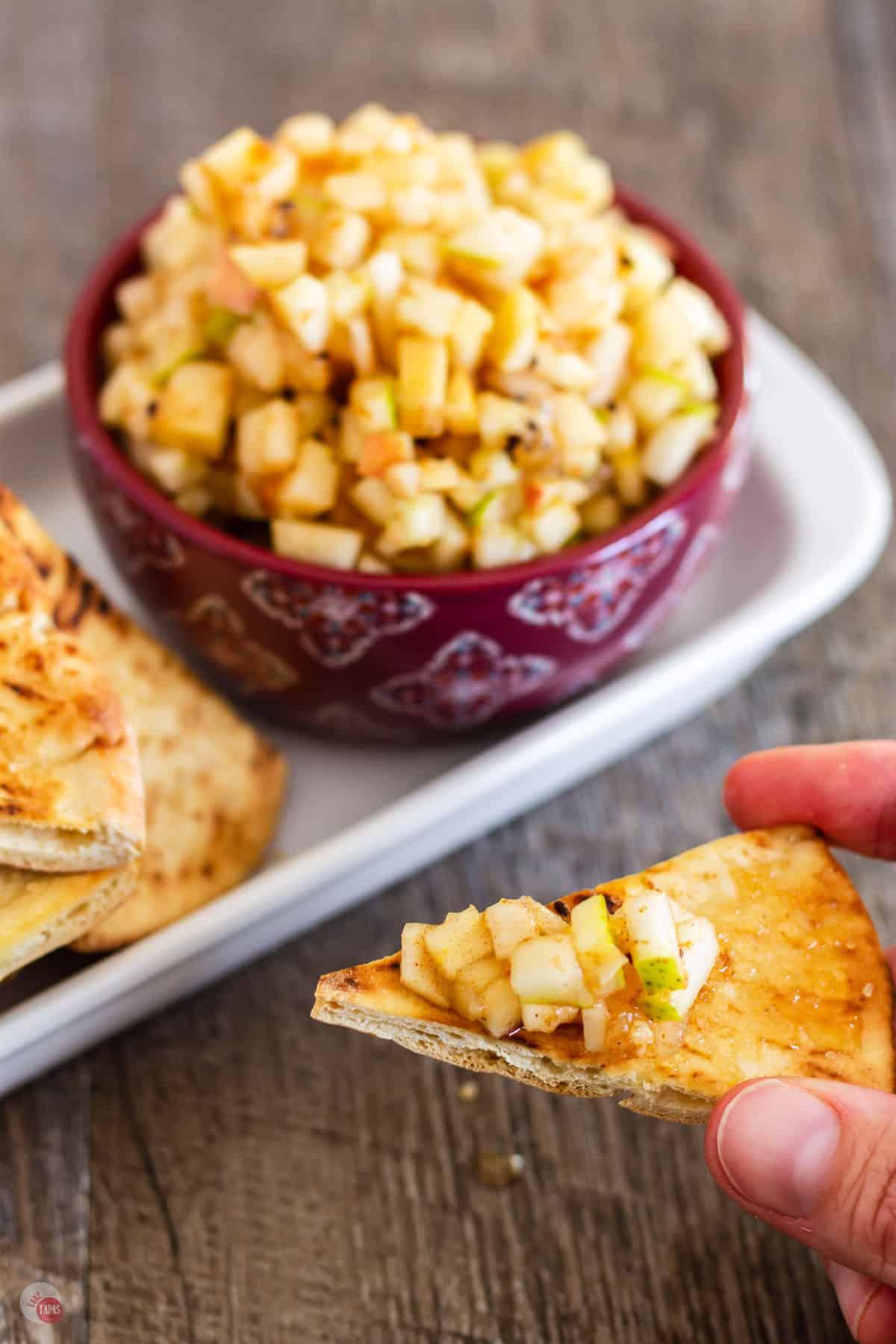 pita chip with salsa