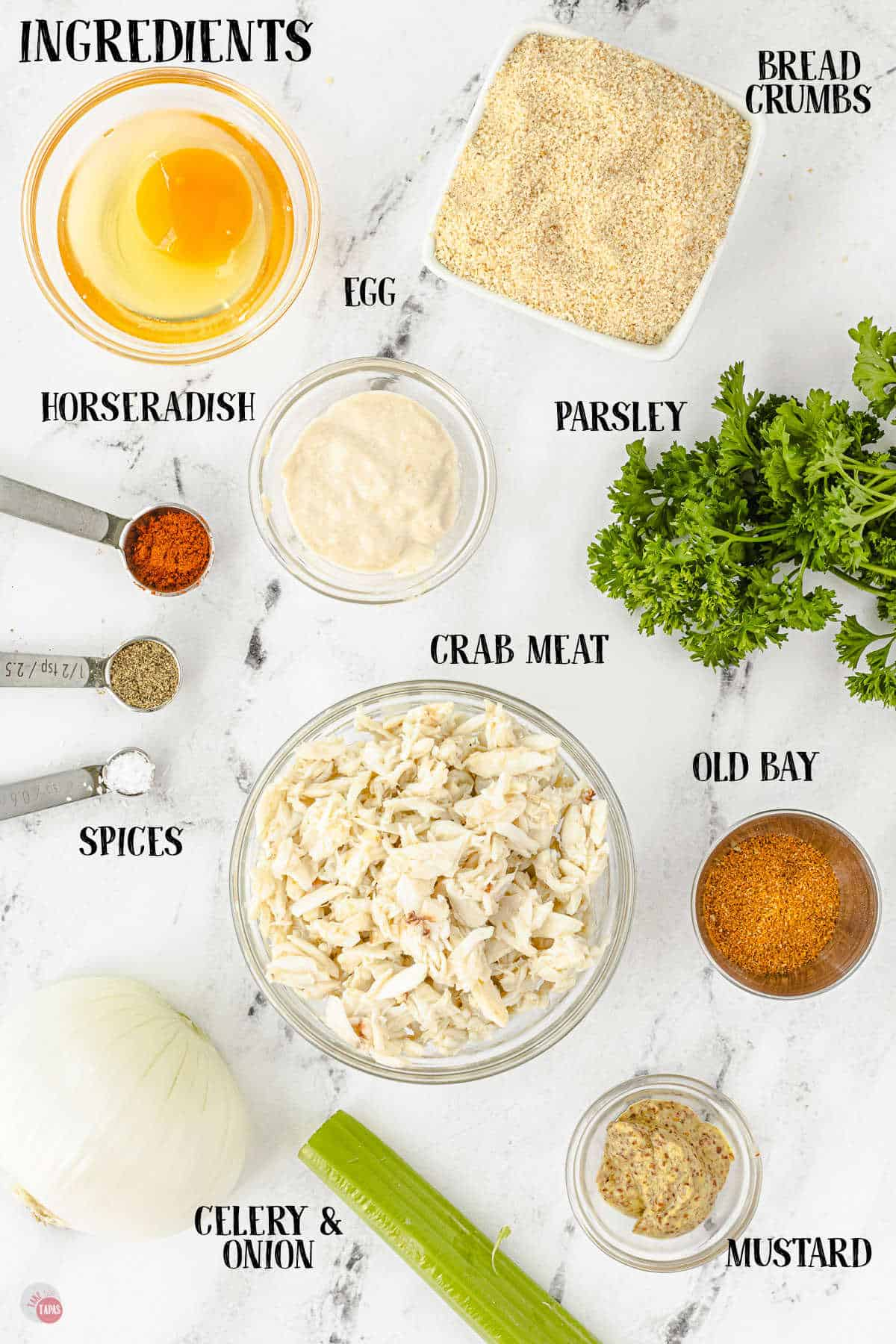 labeled picture of crab cake ingredients