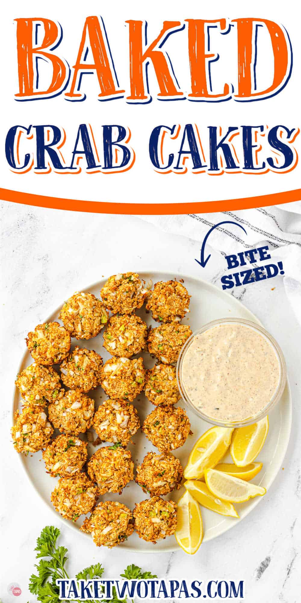 """platter of crab cakes with text """"crabcakes"""""""