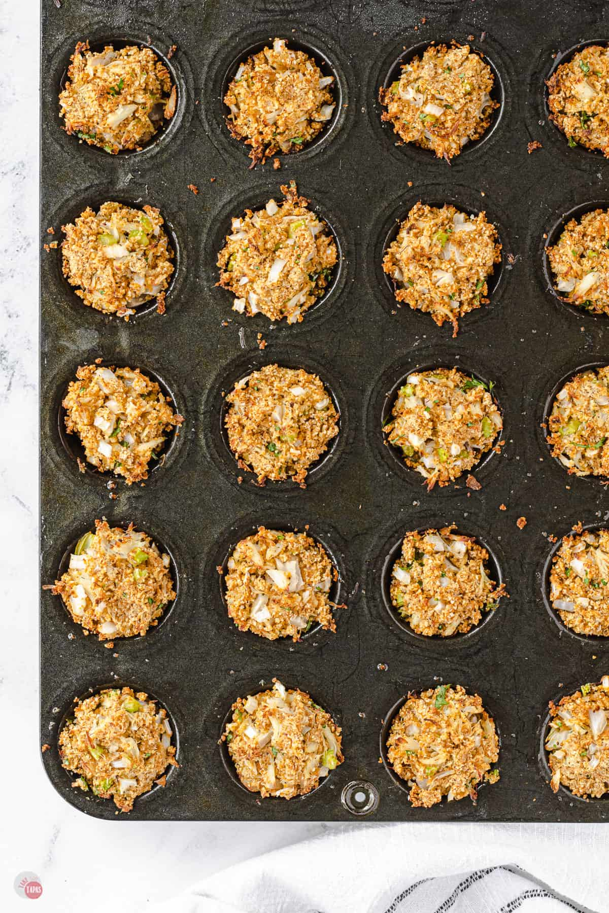 baked crab cakes in muffin pan