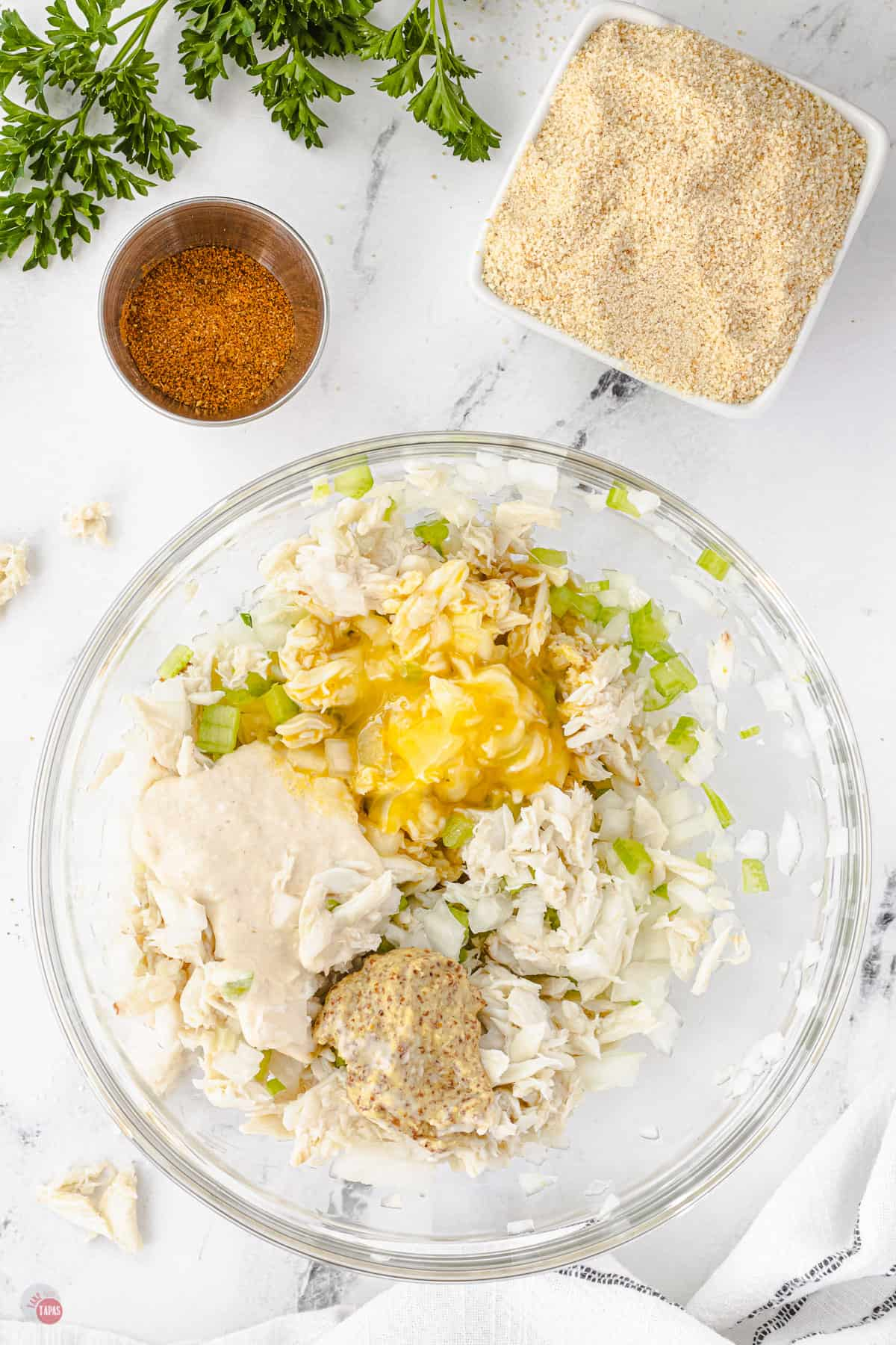 crab cake mixture in a bowl