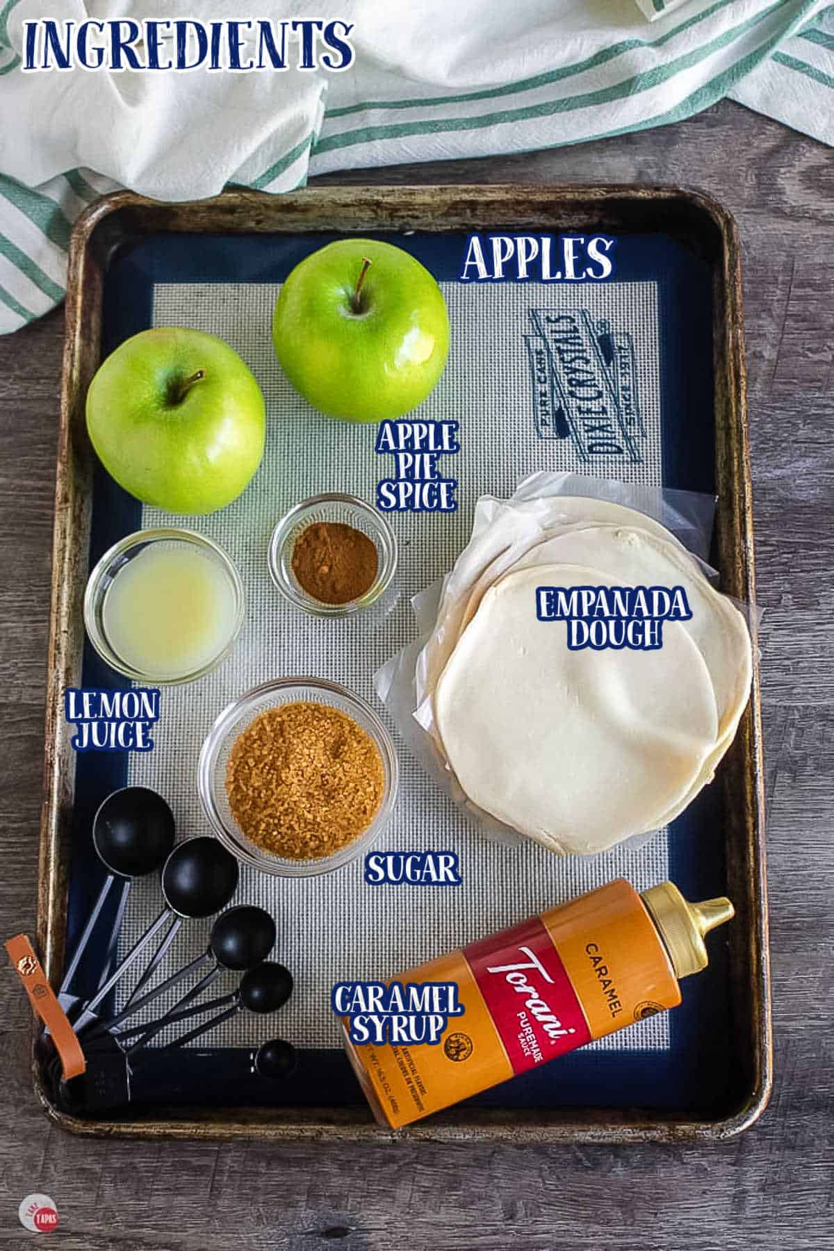 labeled picture of apple empanada ingredients