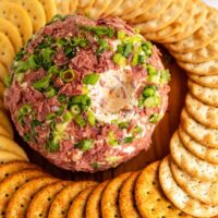 chipped beef cheese ball with scoop missing