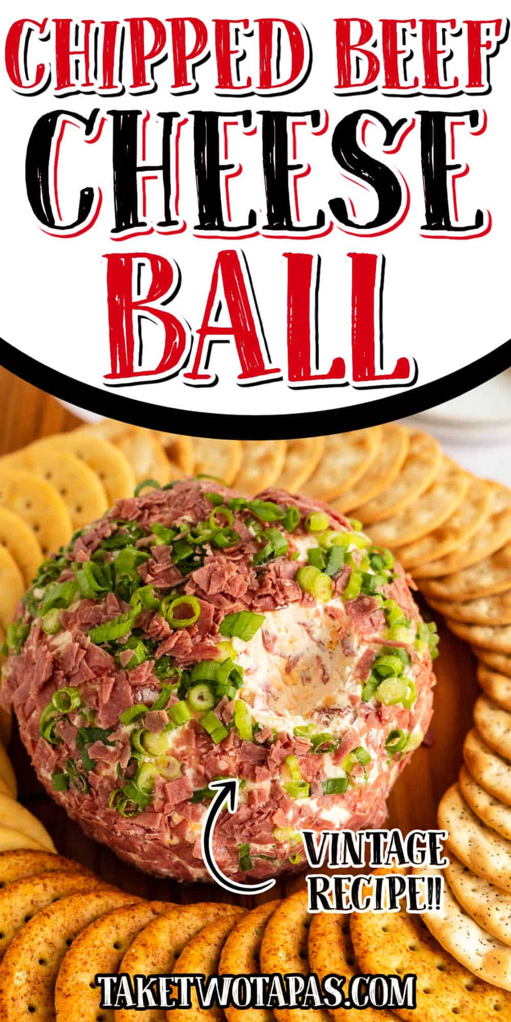 """cheese ball with text """"chipped beef vintage recipe"""""""