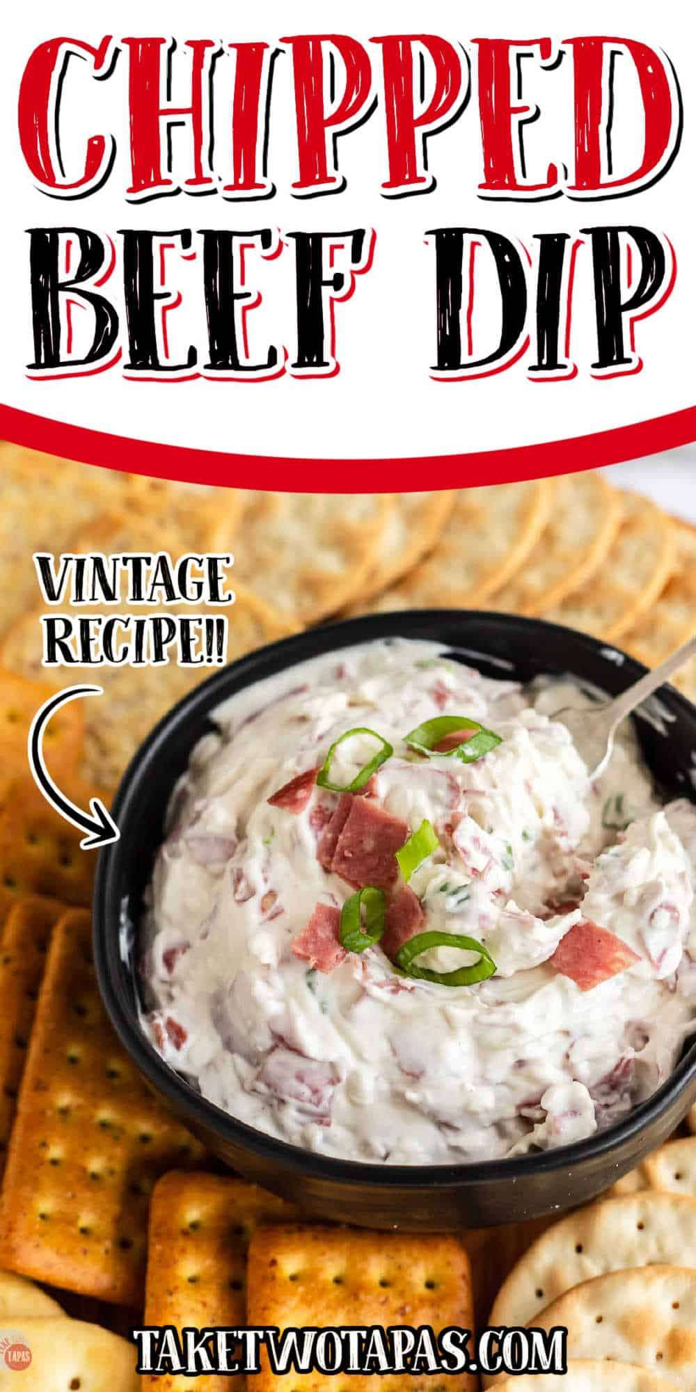 """dip and crackers with text """"chipped beef dip vintage recipe"""""""