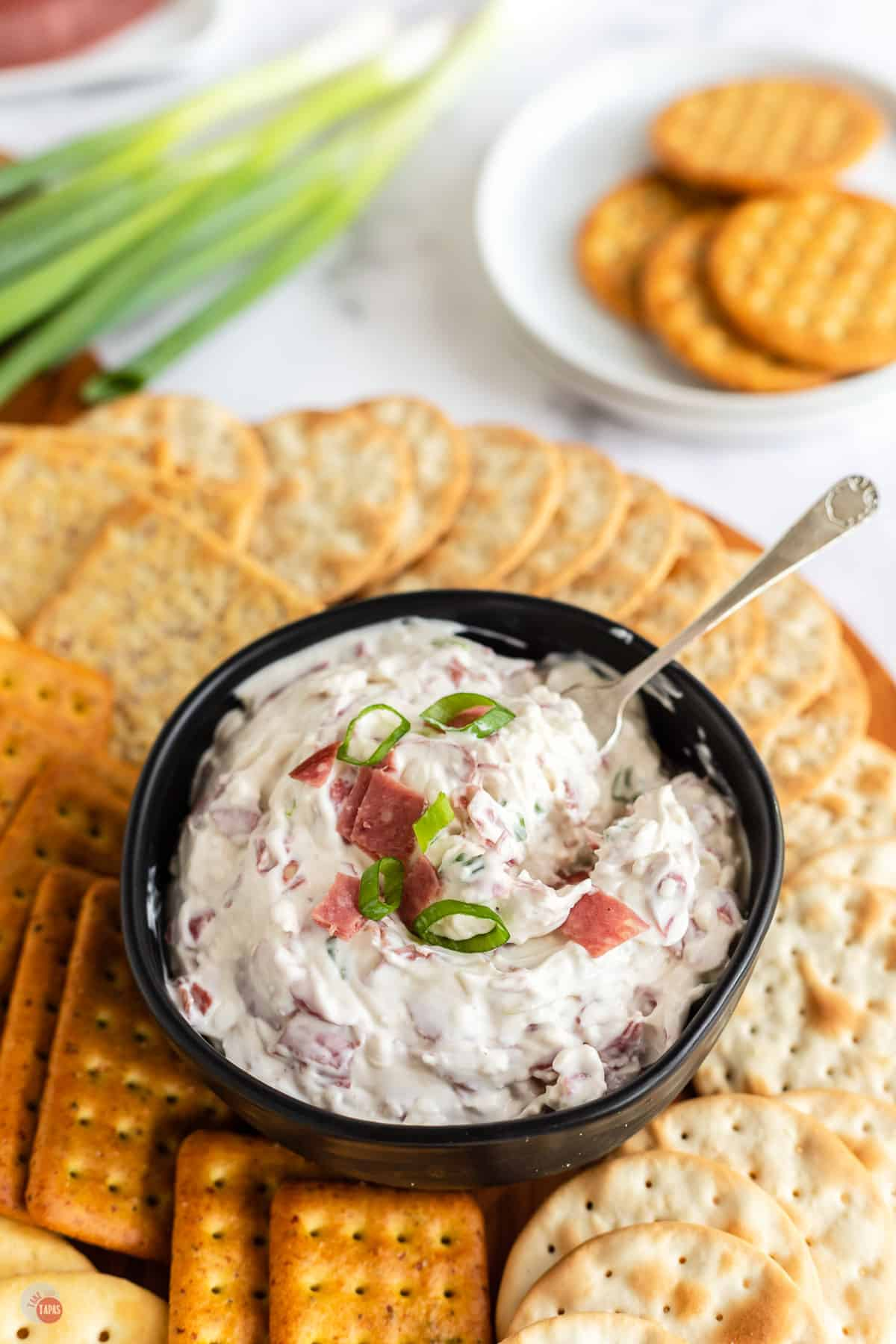 bowl of dip and crackers
