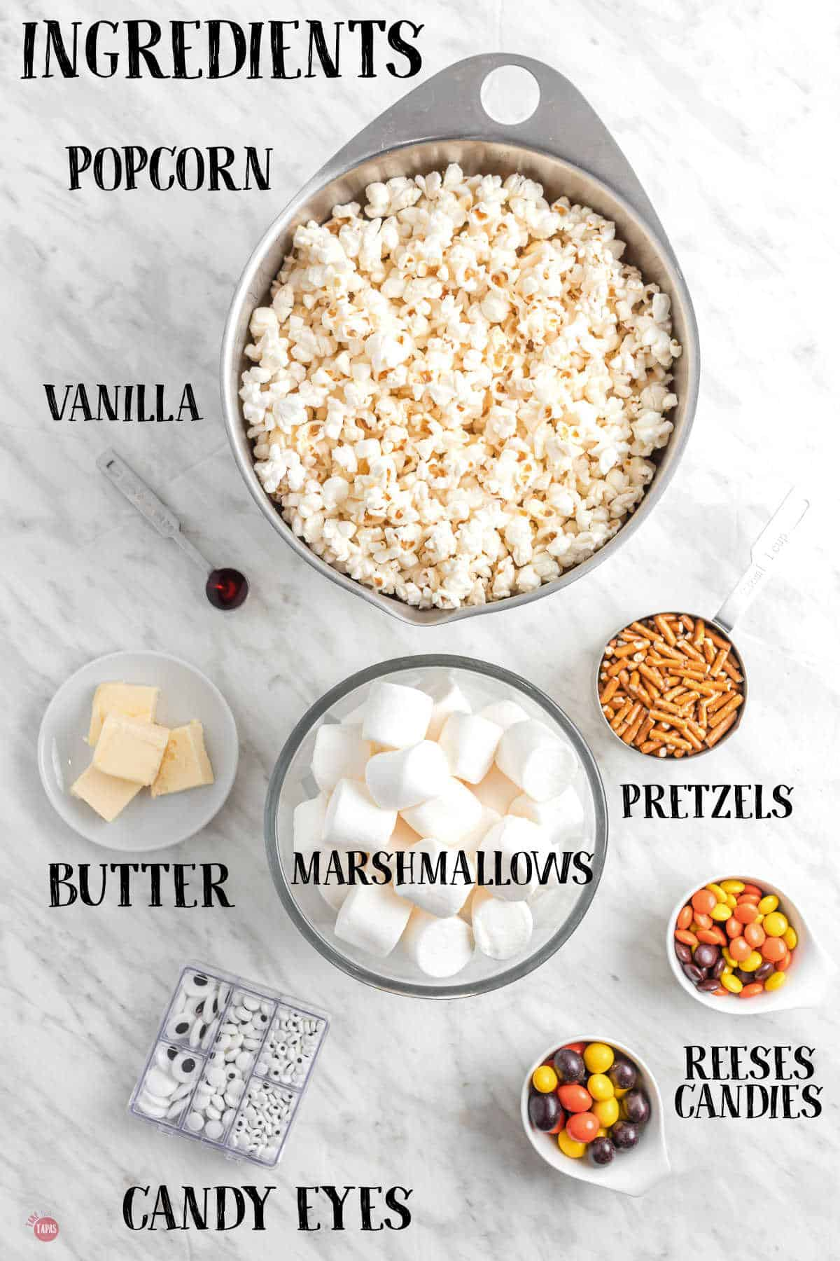 labeled picture of popcorn ball ingredients