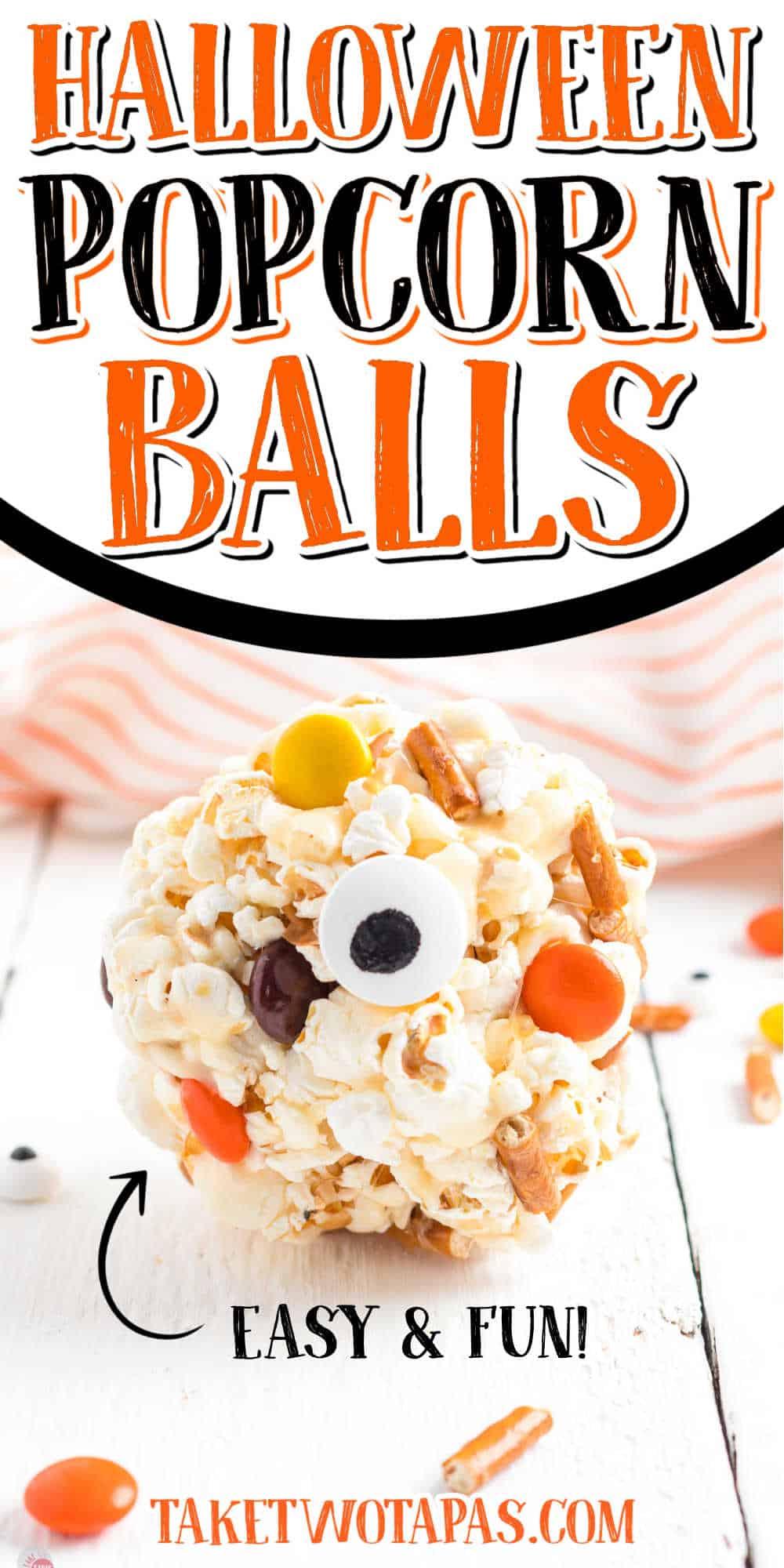 "popcorn ball with text ""halloween fun & easy"""