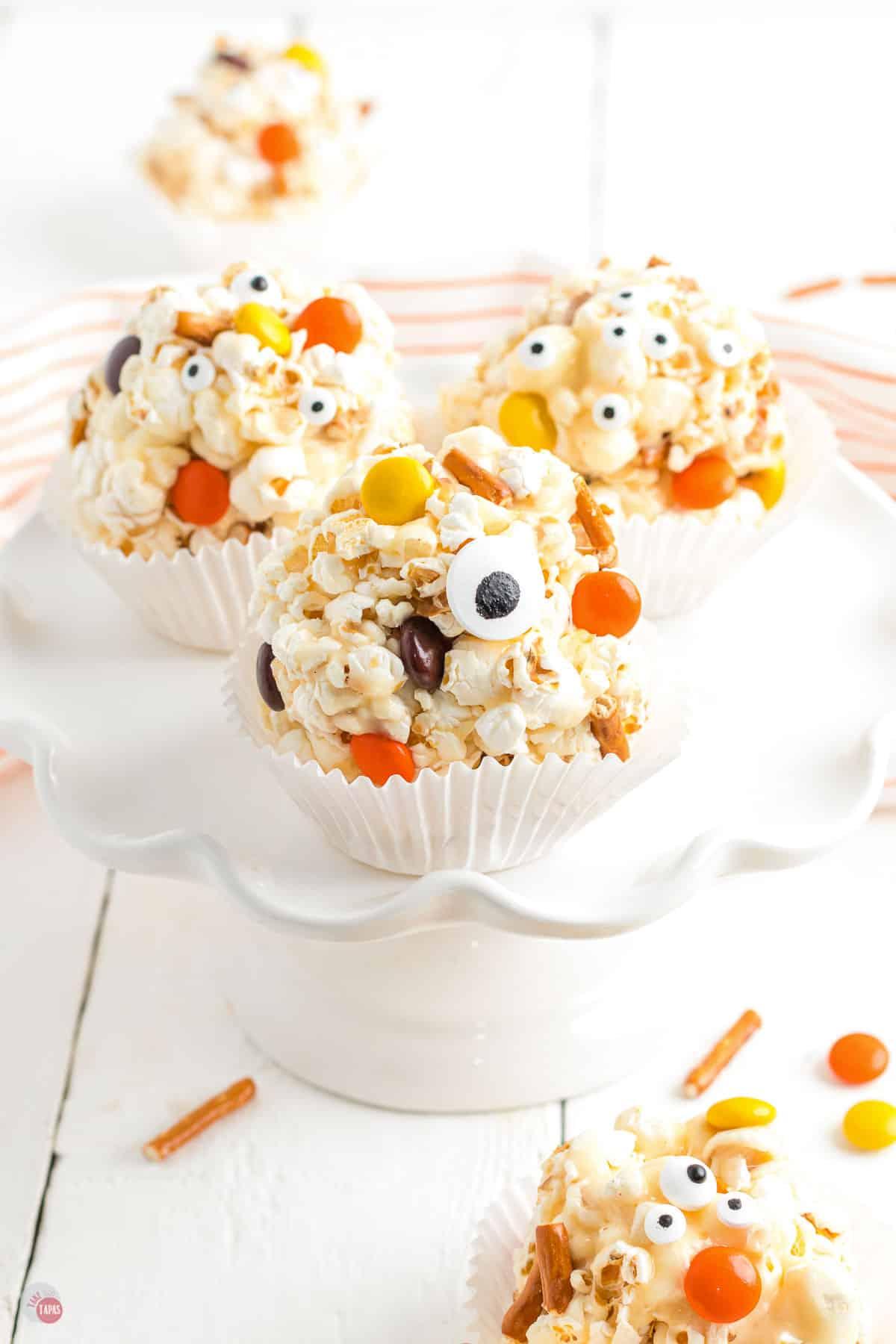 cake plate with popcorn balls
