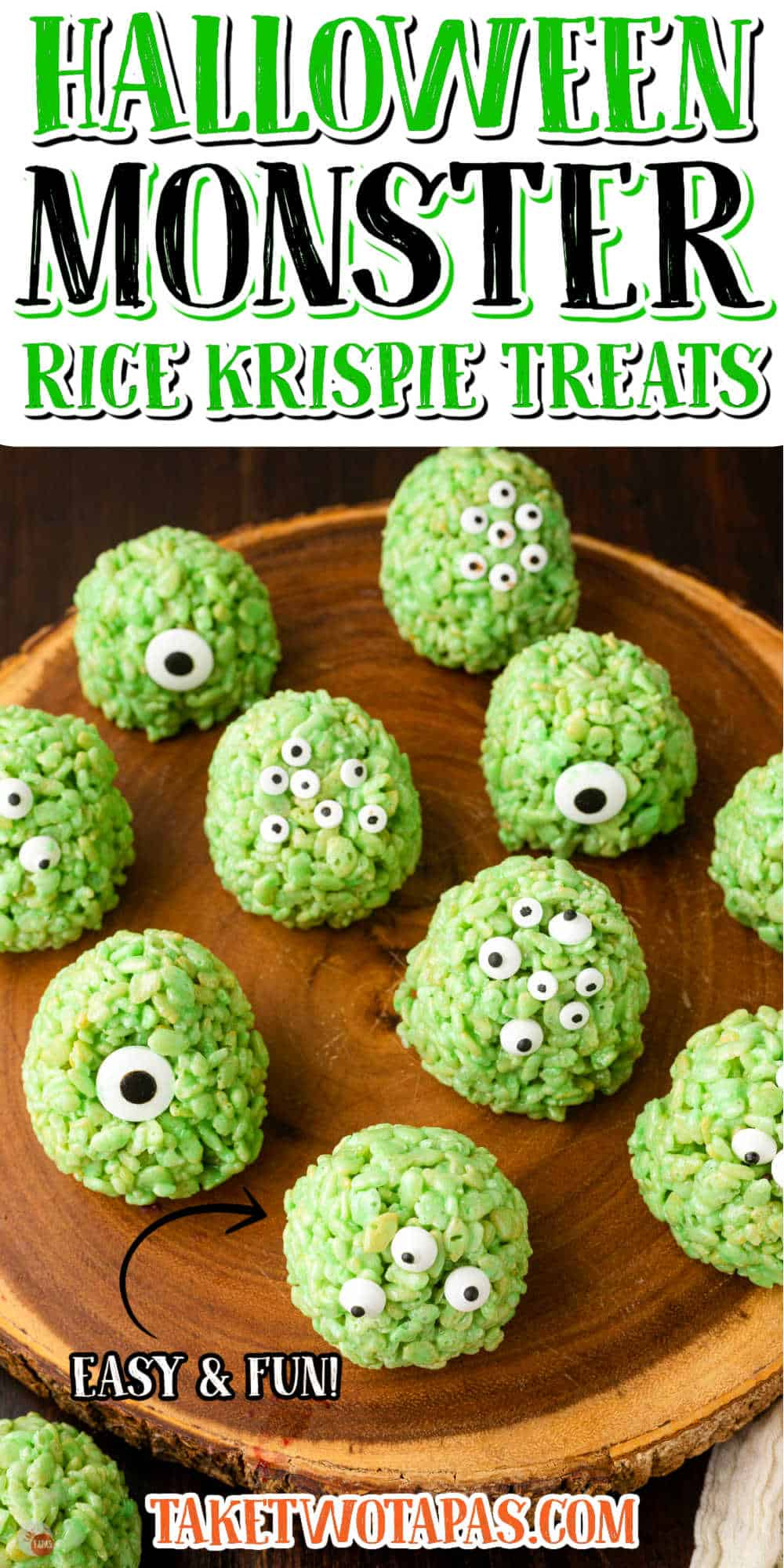 """halloween monster marshmallow treats with text """"fun and easy"""""""