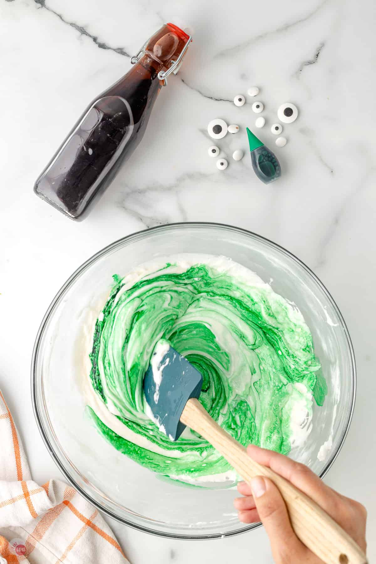 food coloring stirred into a bowl of butter