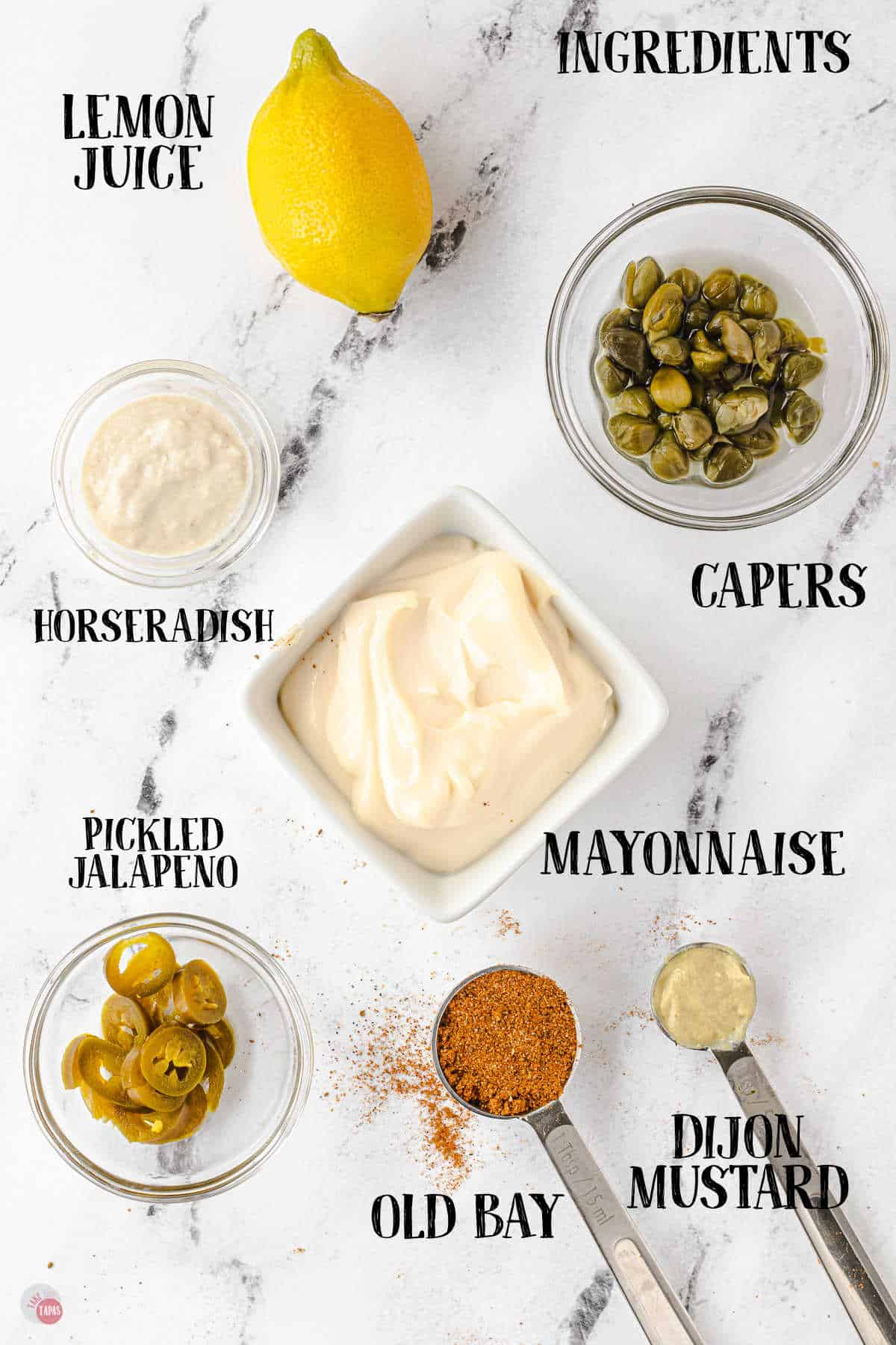 labeled picture of tartar sauce ingredients