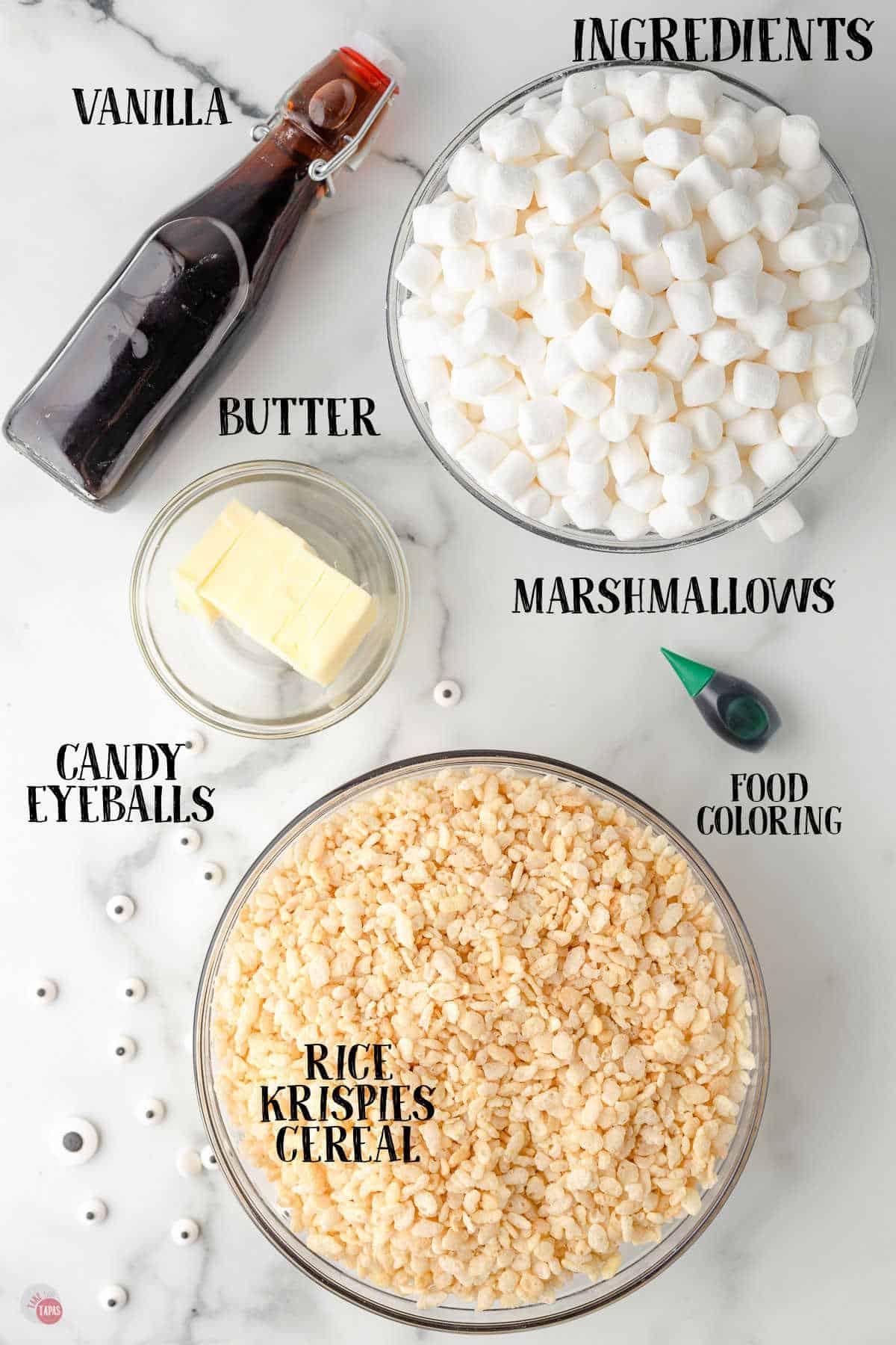 labeled picture of halloweeen rice kripsie treats ingredients