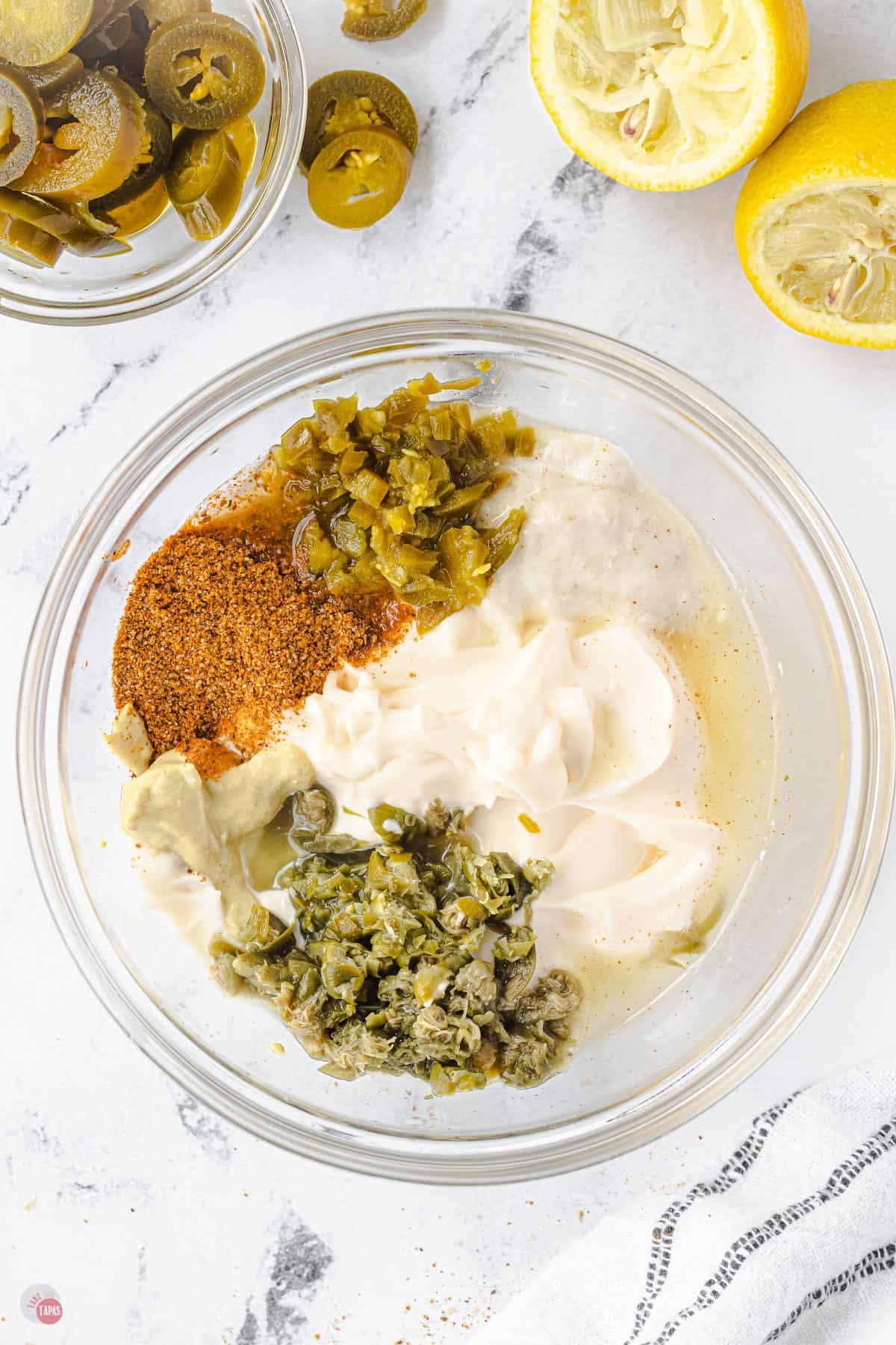 bowl of tarter sauce ingredients
