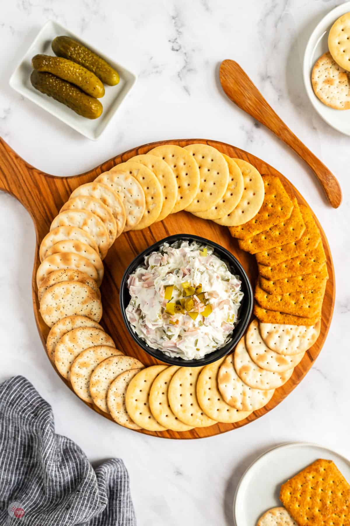 platter of crackers and pickle dip