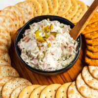 pickle dip in a bowl with crackers