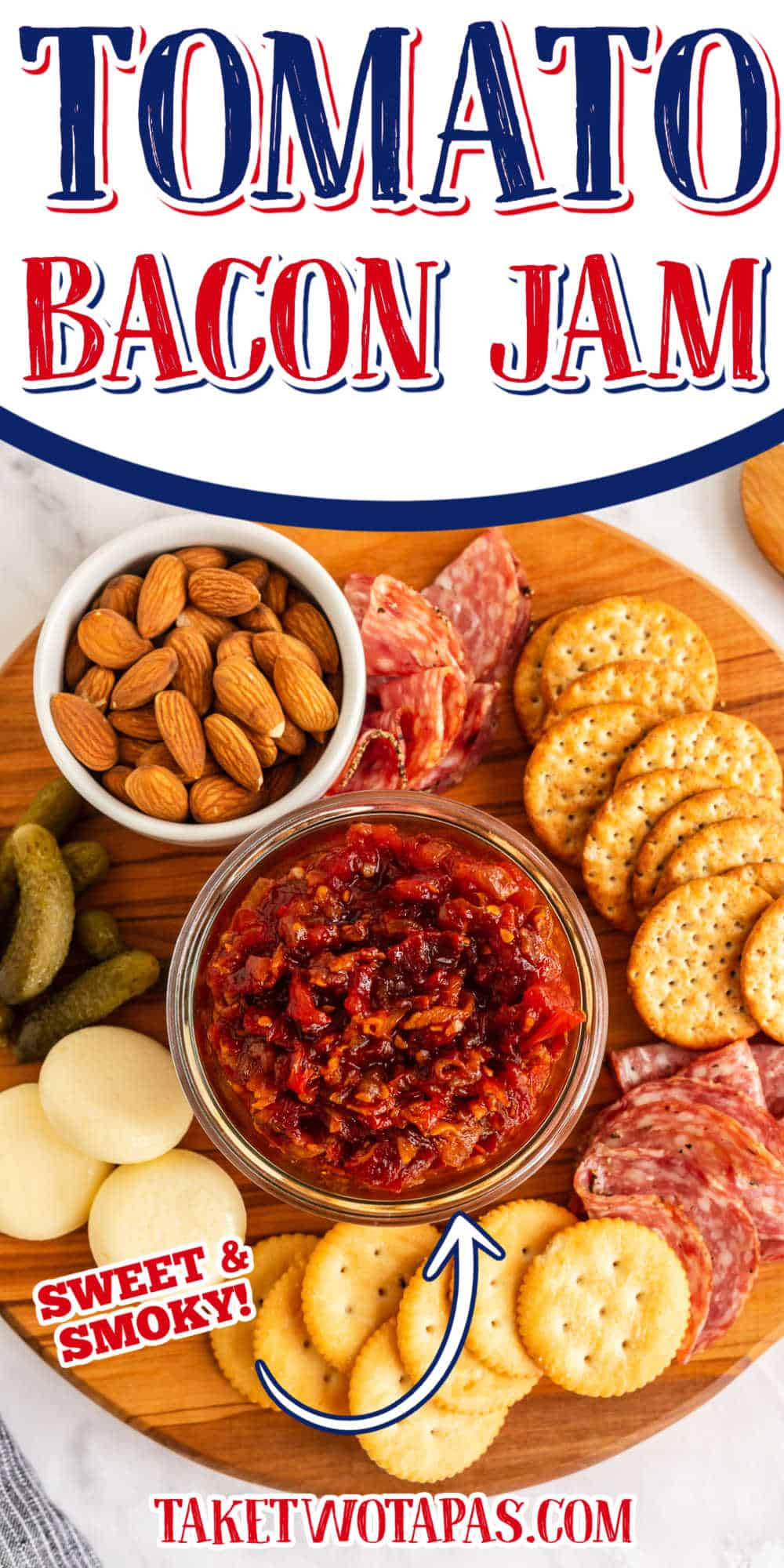 """charcuterie board with text """"tomato bacon jam"""""""