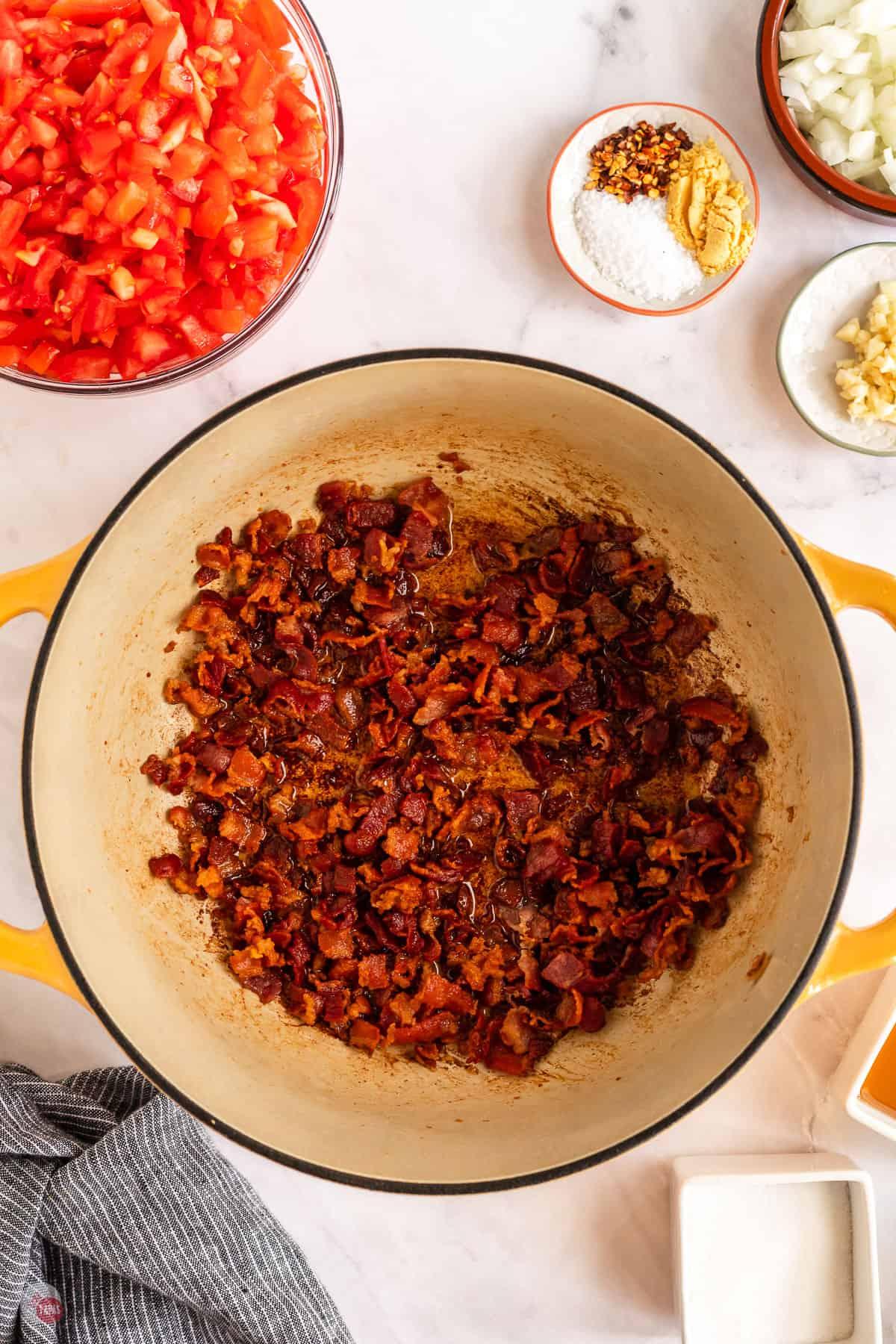 bacon in a pot