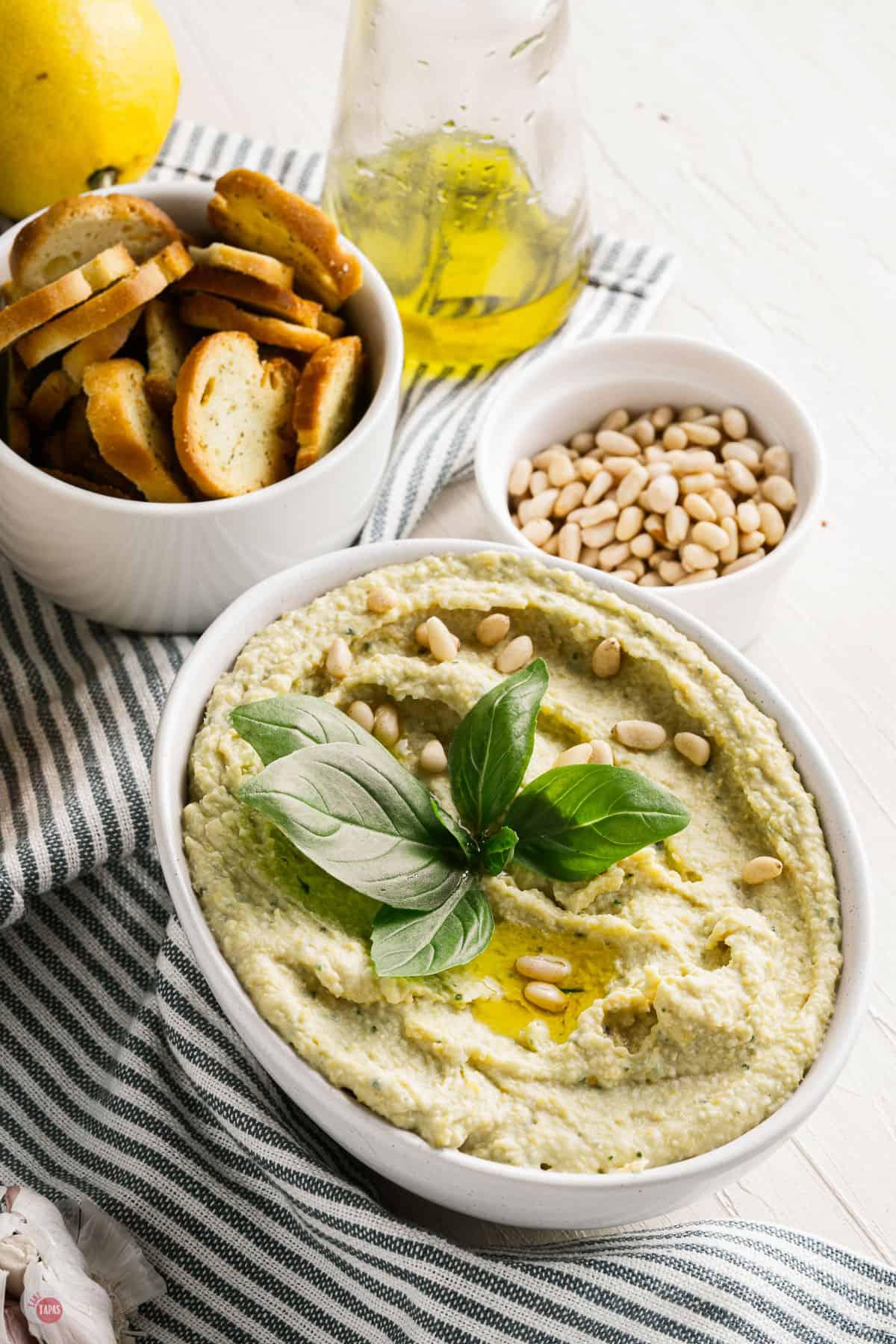 pesto hummus in a bowl