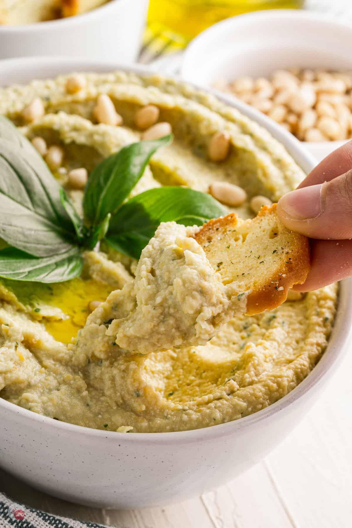 cracker with basil pesto hummus