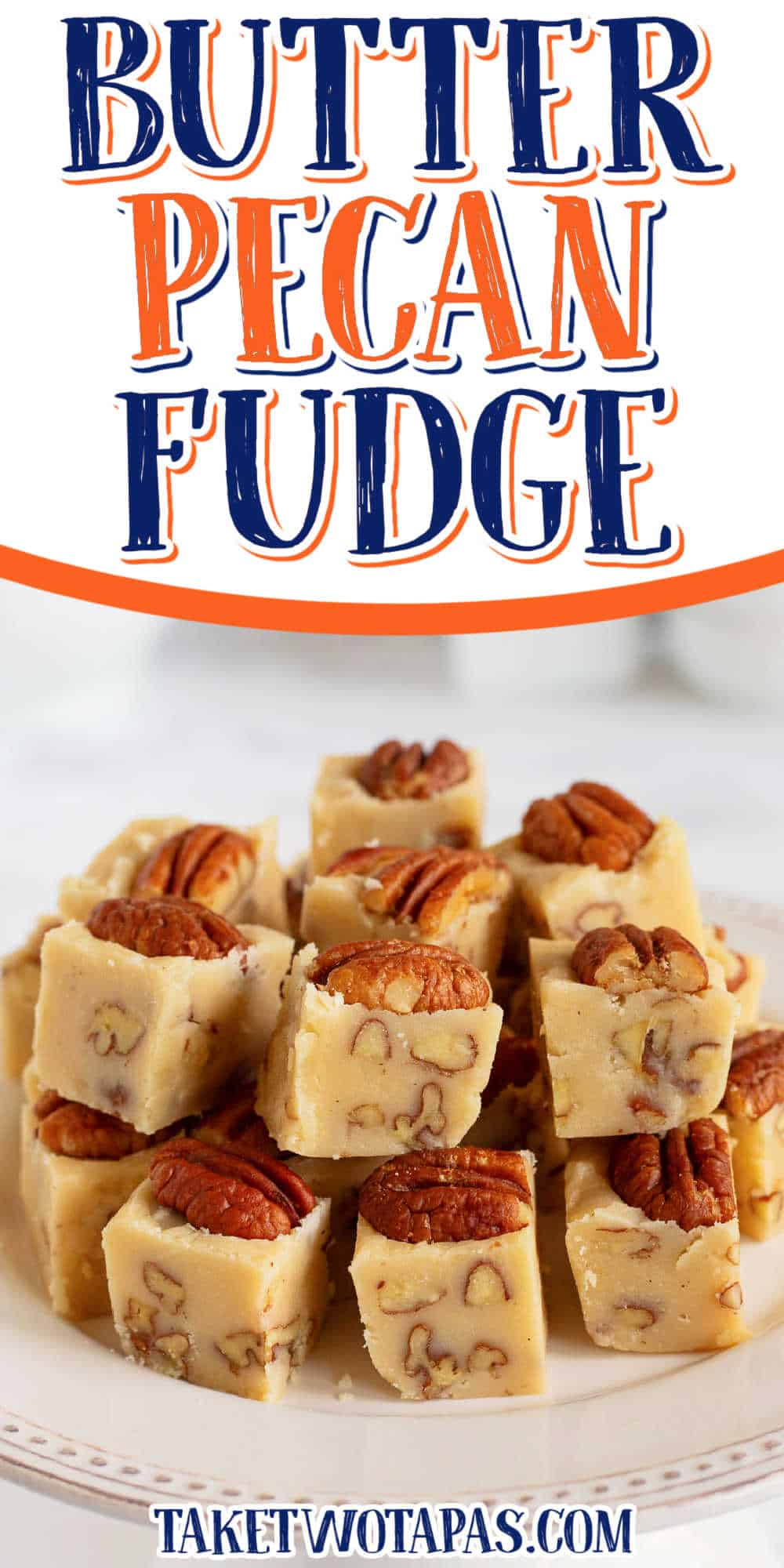 """stack of fudge with text """"butter pecan"""""""