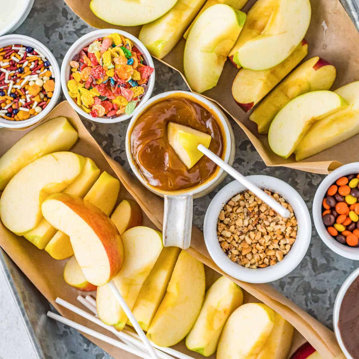 overhead picture of DIY caramel apple bar