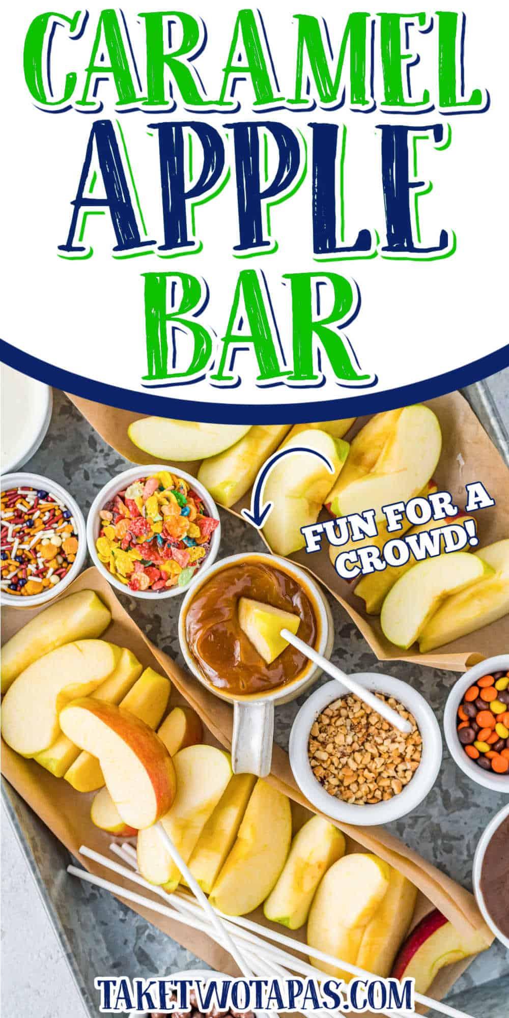 """DIY caramel apple bar with text """"caramel apple bar"""""""