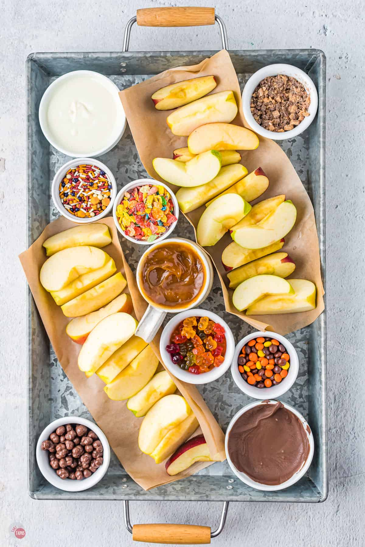 sliced apples and toppings