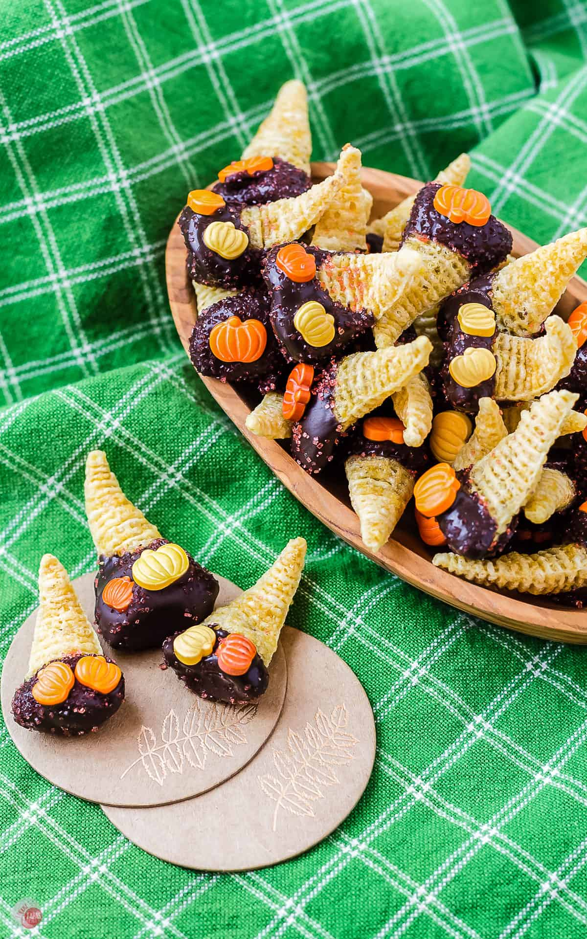 close up of dulce de leche bugles with pumpkin sprinkles