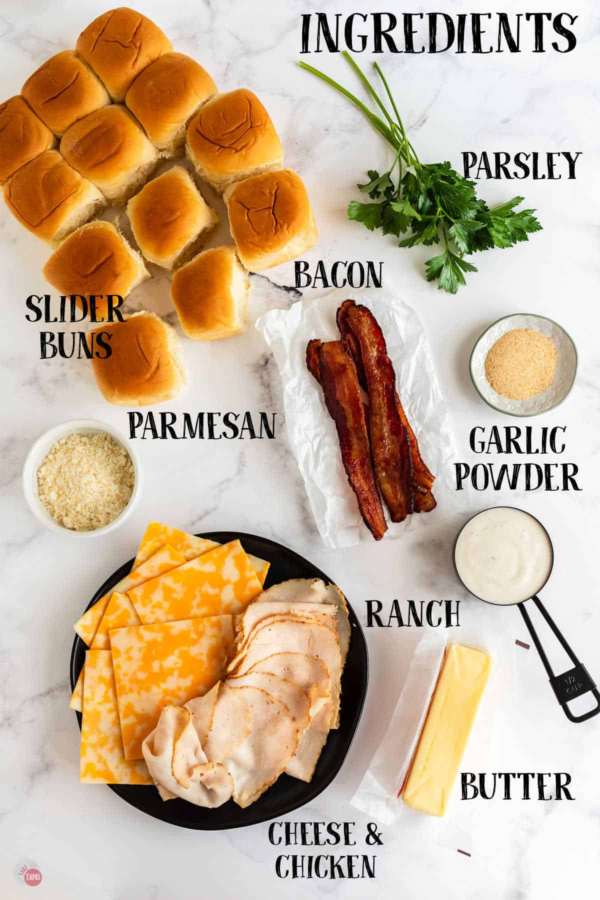 labeled picture of chicken bacon ranch slider ingredients