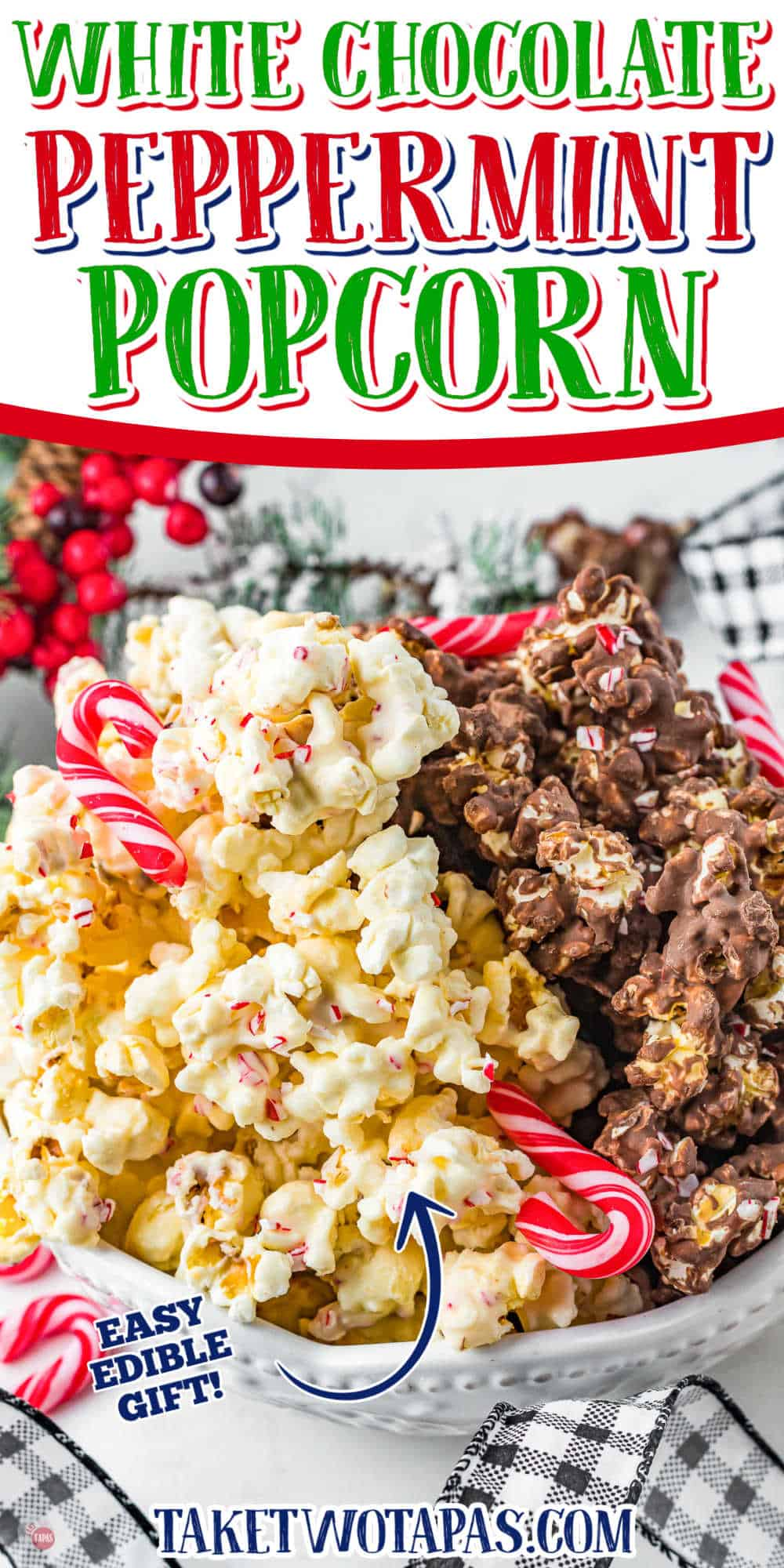 """bowl of popcorn with text """"white chocolate peppermint popcorn"""""""