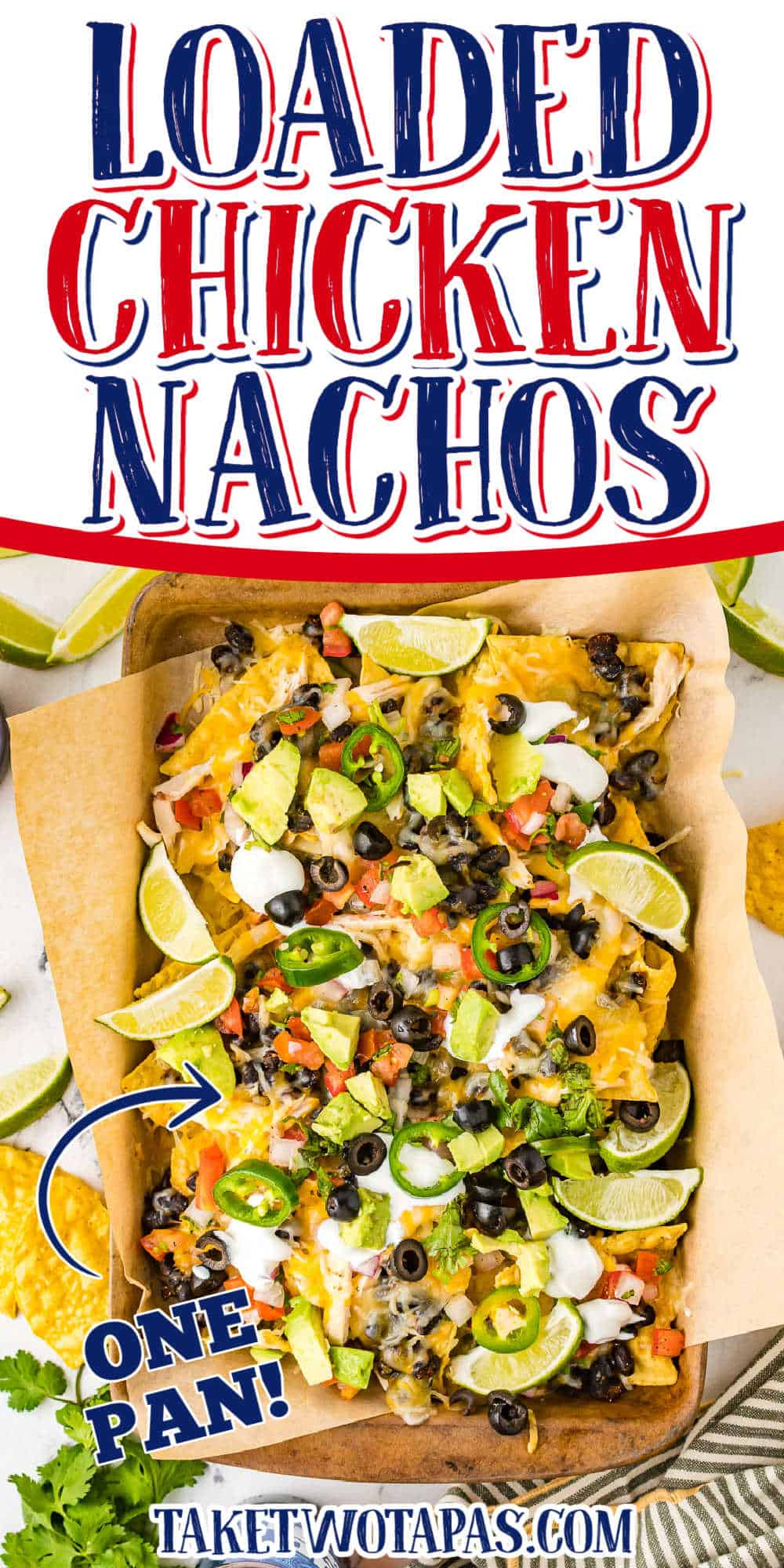 """sheet pan nachos with text """"loaded chicken"""""""