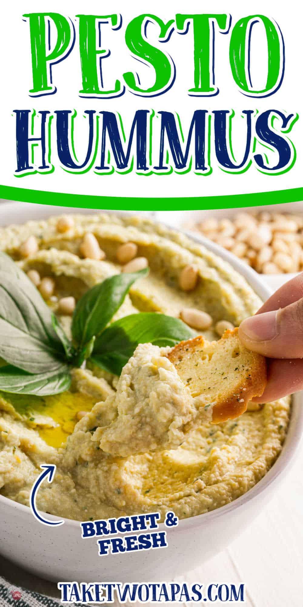 "scoop of hummus with text ""basil pesto hummus"""