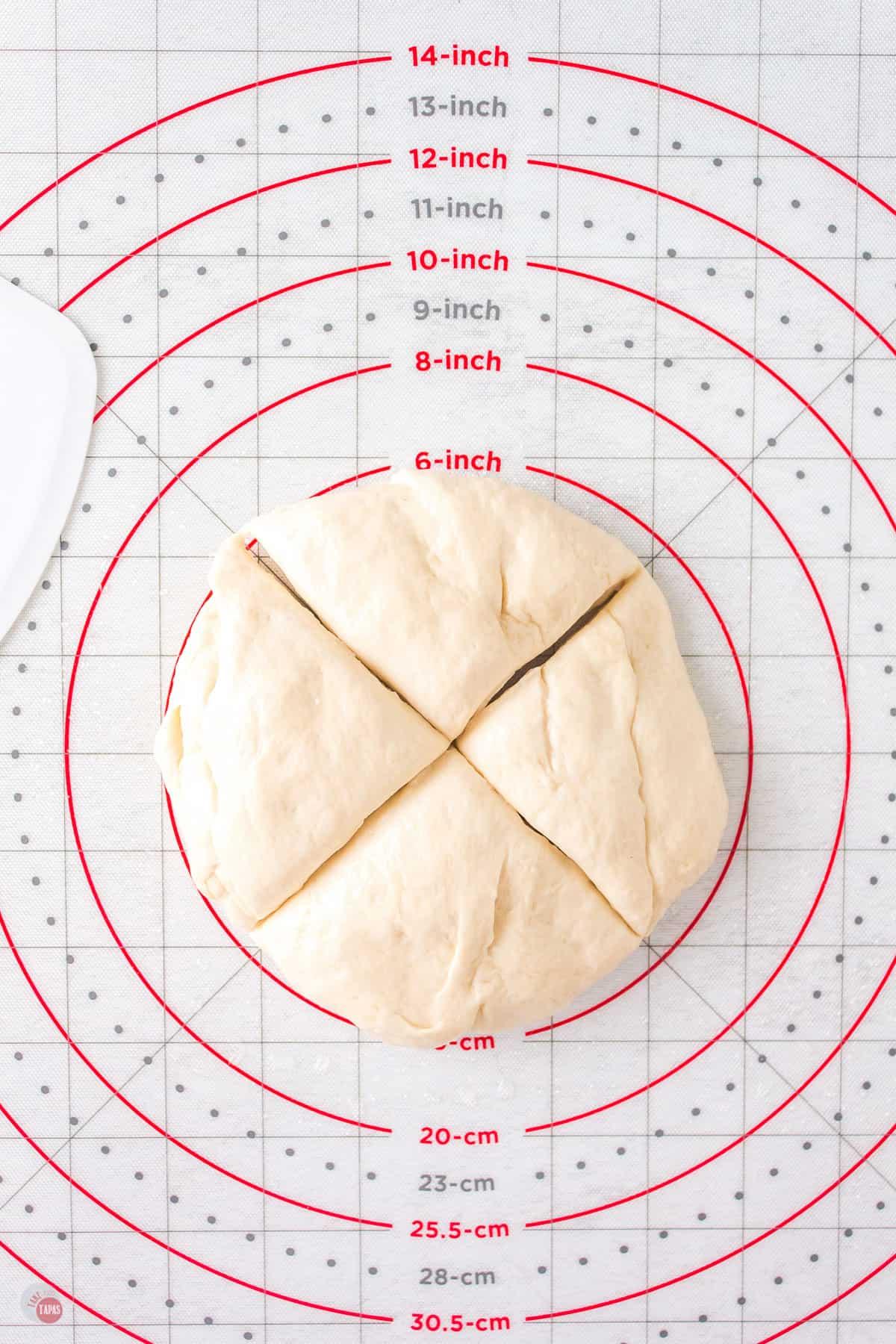 dough cut in quarters