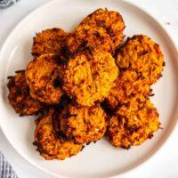 plate of sweet potato latkes