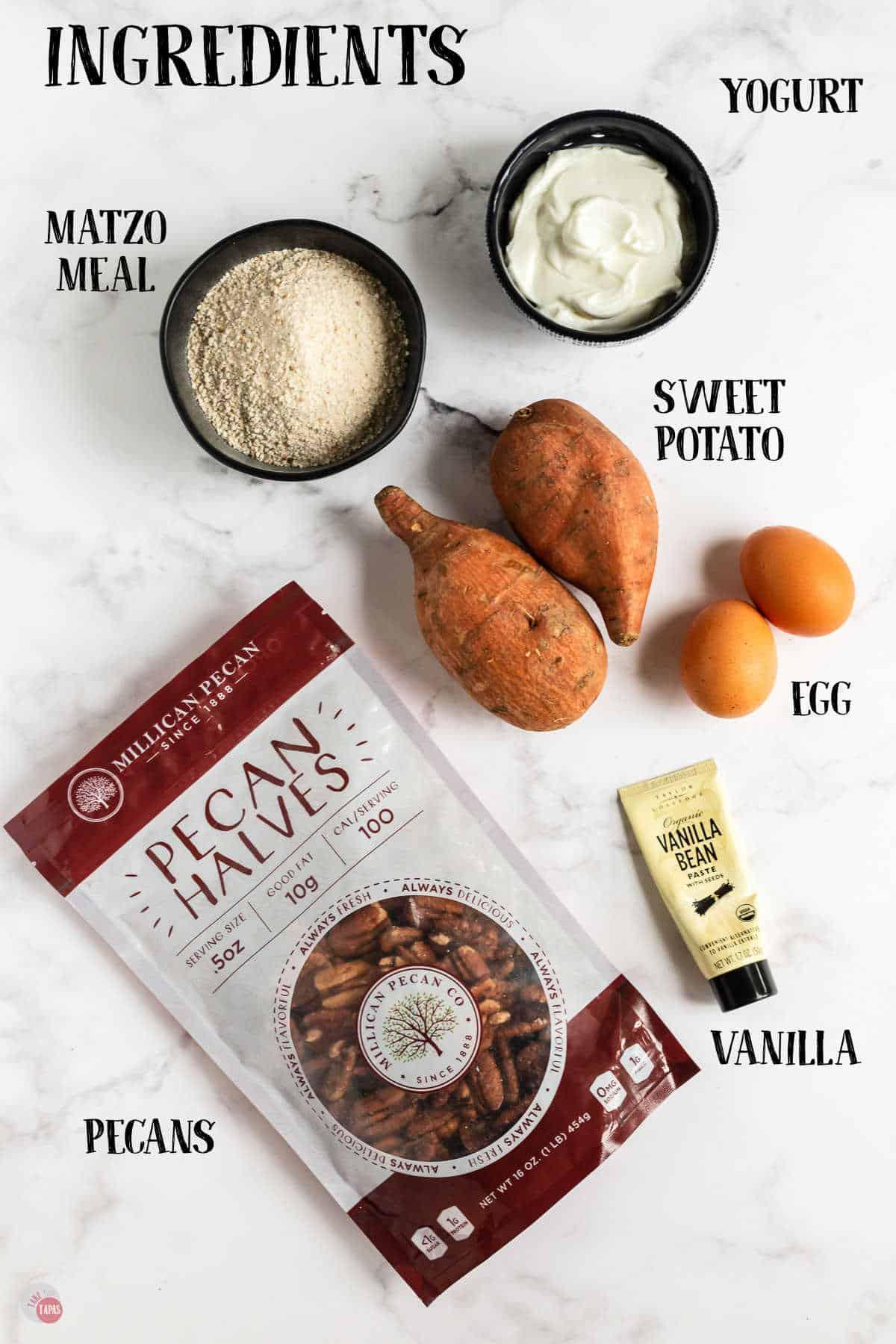 labeled picture of sweet potato latke ingredients