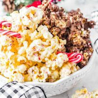 bowl of chocolate covered popcorn