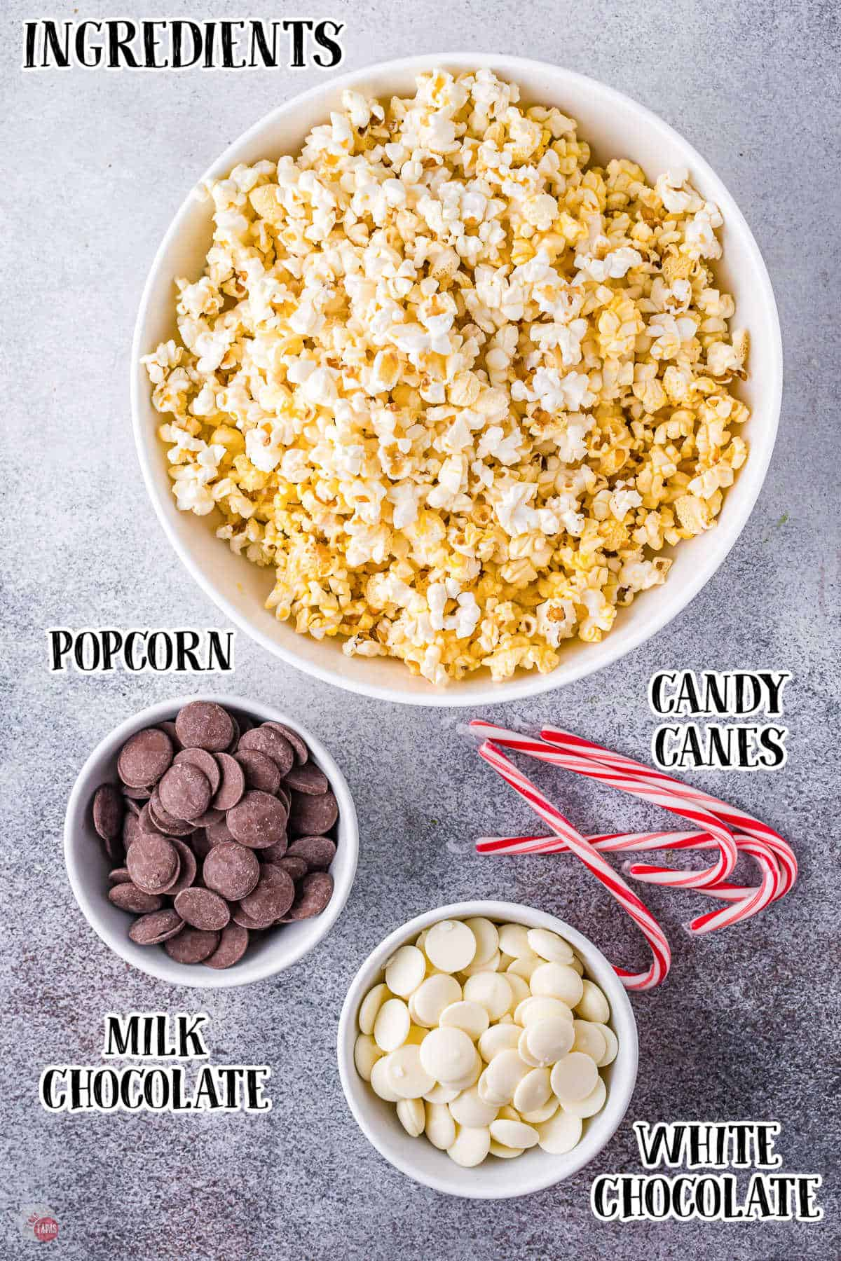 labeled picture of peppermint popcorn ingredients