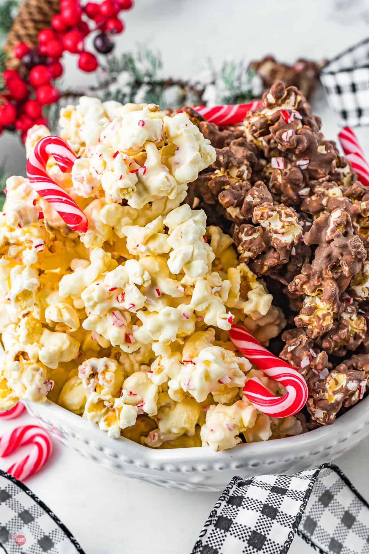 bowl of white chocolate popcorn