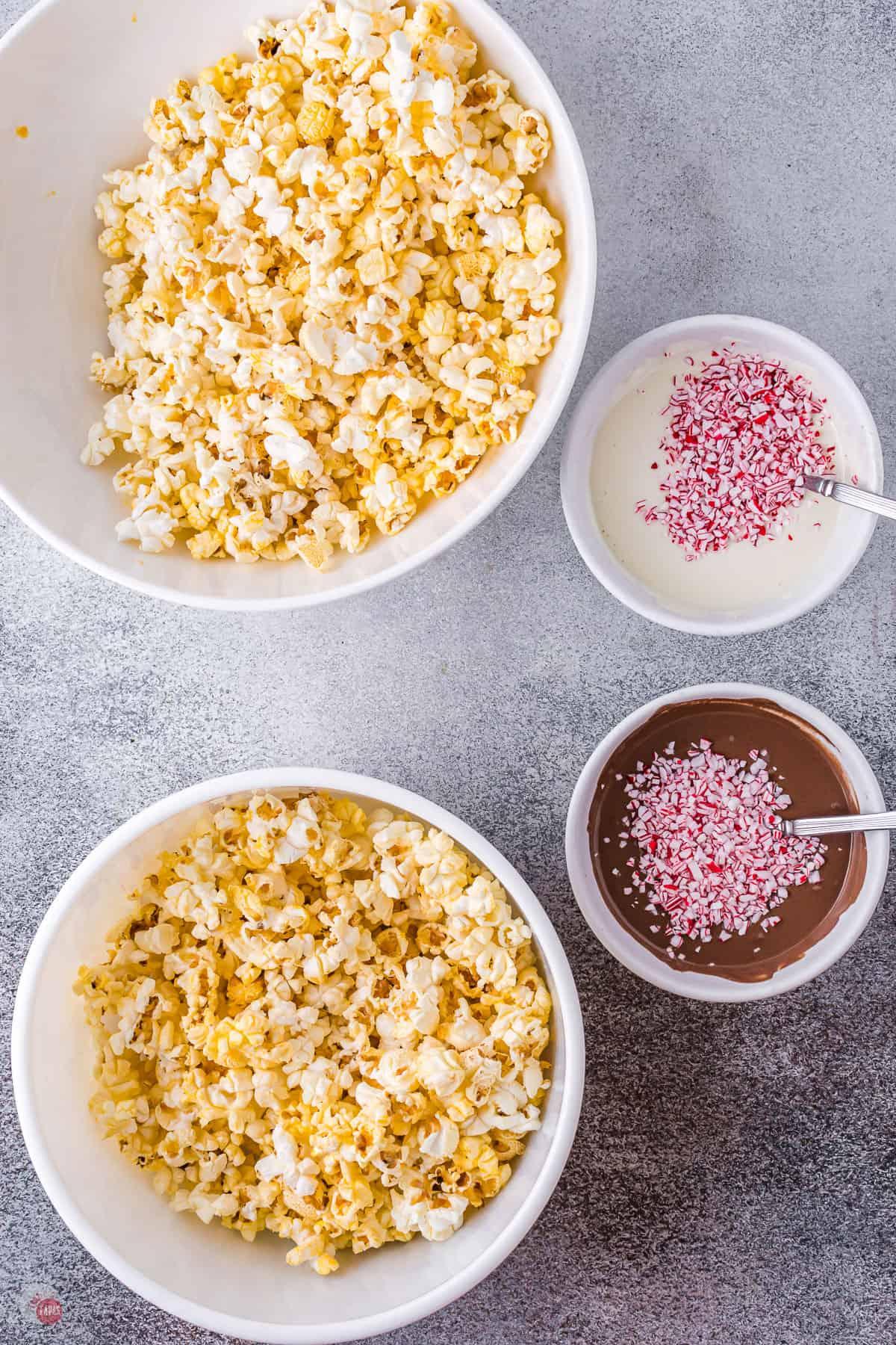popcorn in bowls