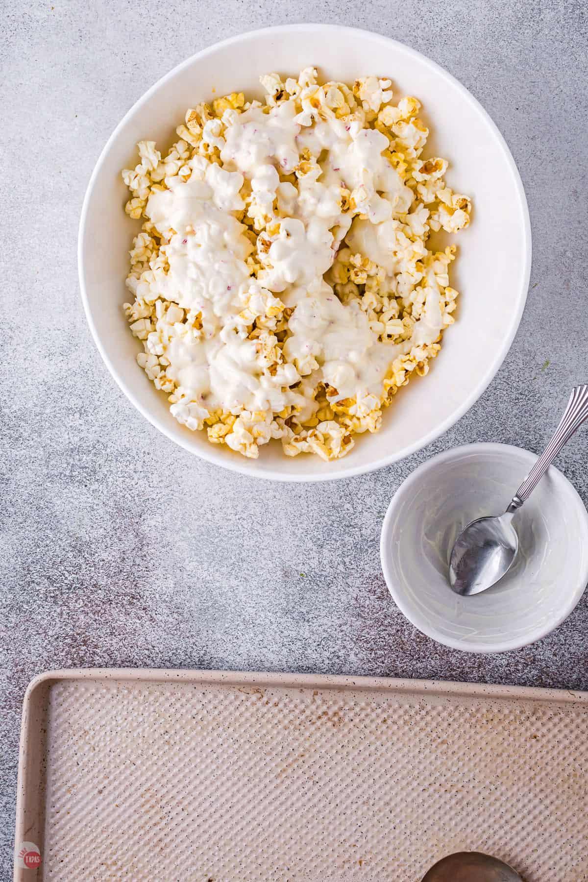 white chocolate on popcorn