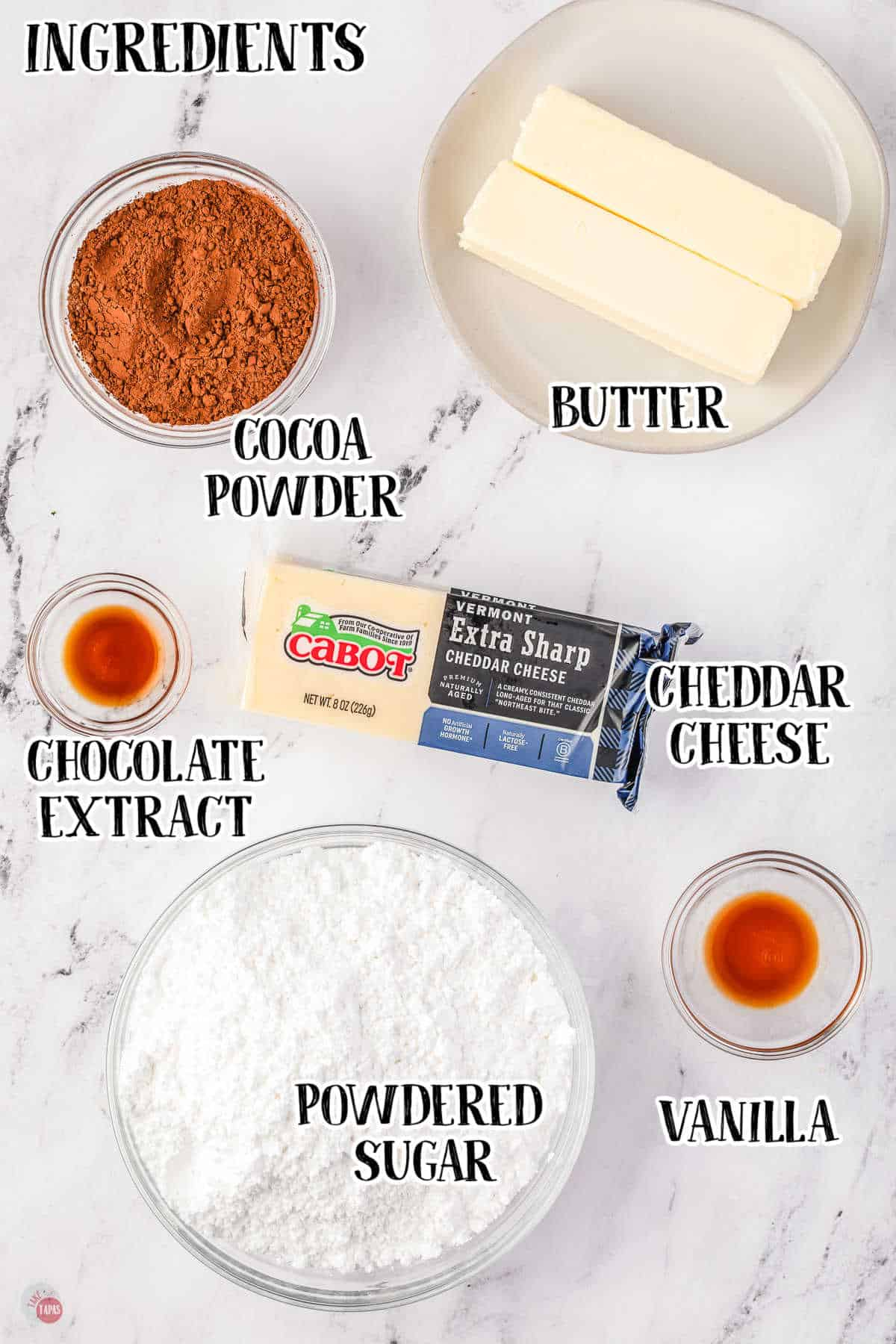 labeled picture of chocolate cheese fudge ingredients
