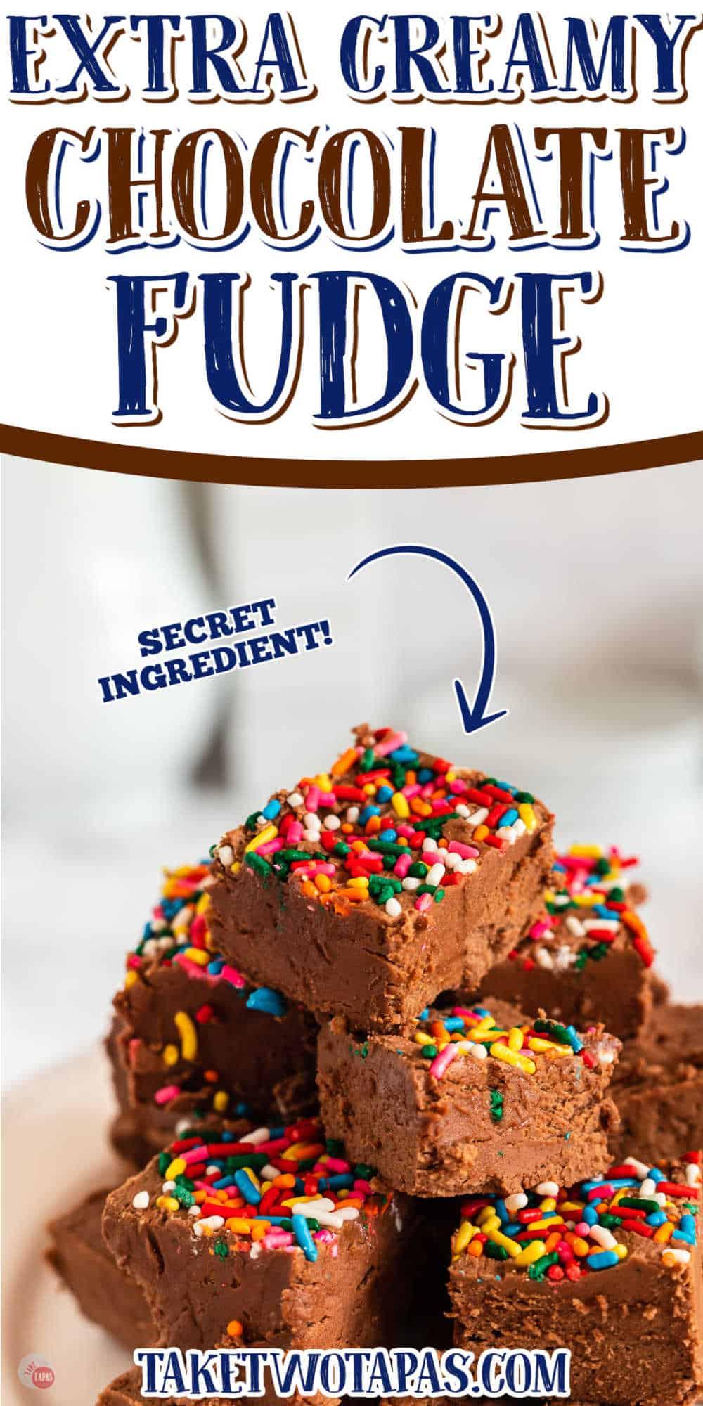 "stack of fudge with text ""secret ingredient"""