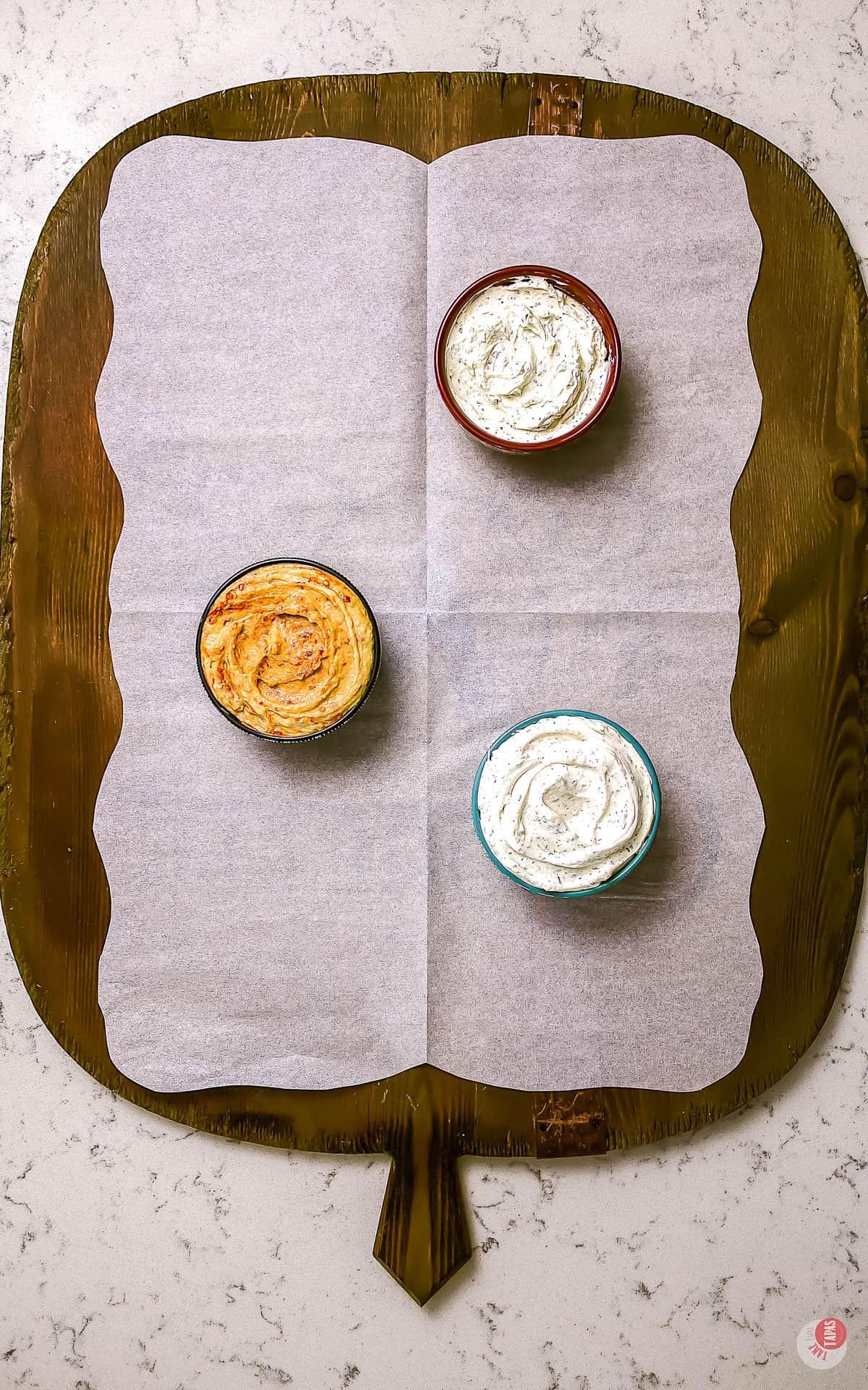 three dips on a platter