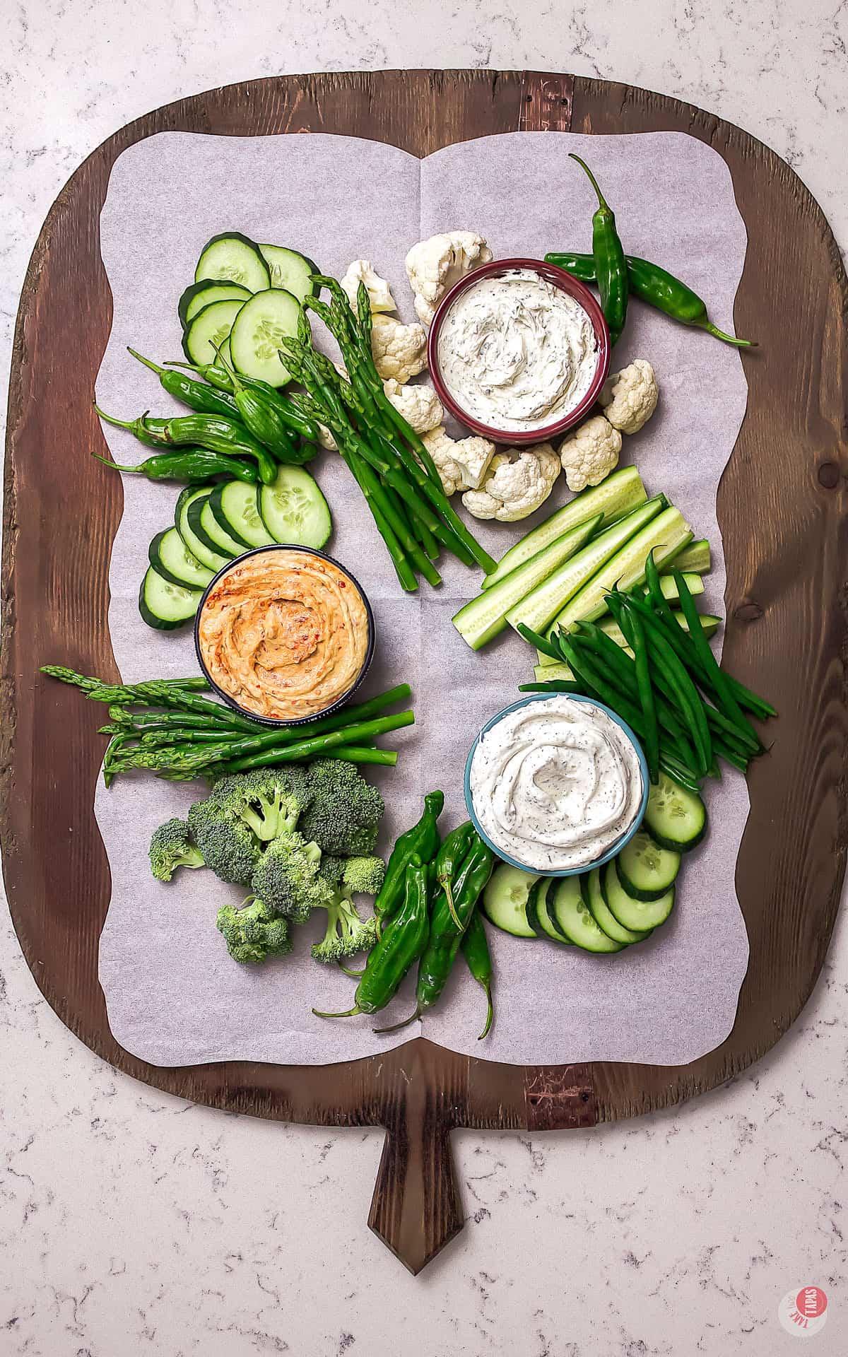 more green vegetables on platter