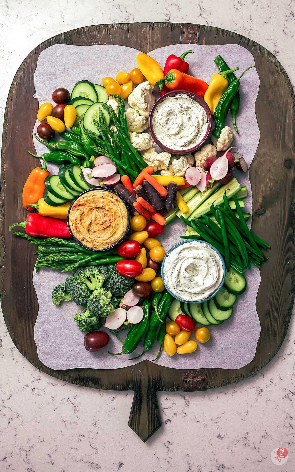 a vegetable platter almost filled up