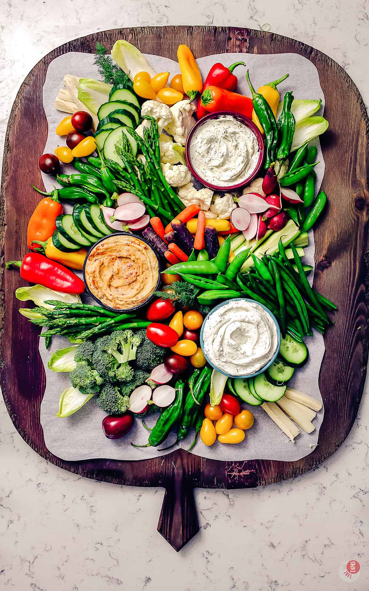 an overhead view of a vegetable platter